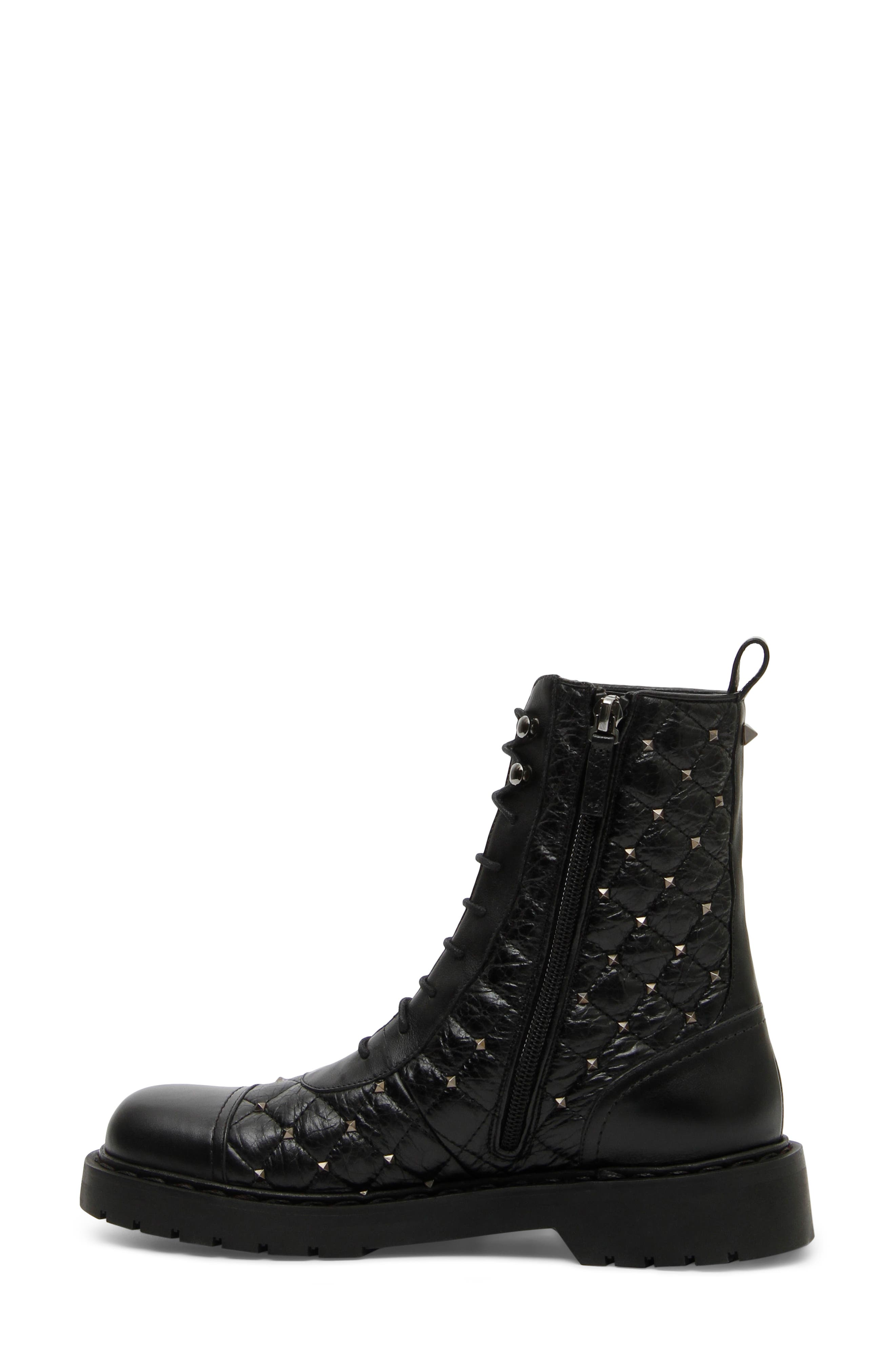 VALENTINO GARAVANI,                             Rockstud Quilted Combat Boot,                             Alternate thumbnail 3, color,                             BLACK