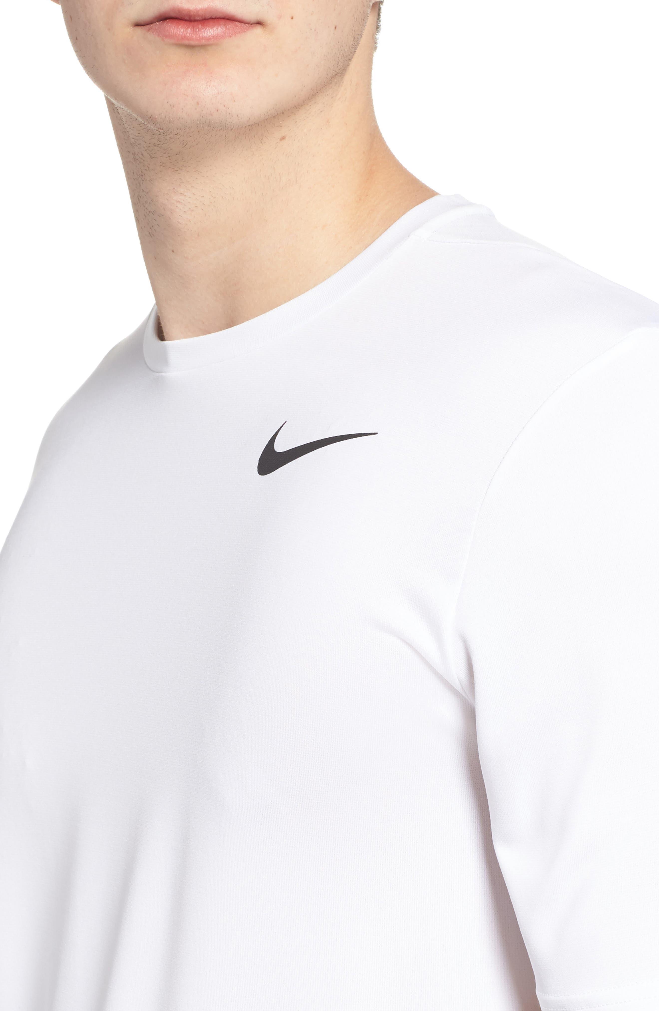 Hyper Dry Training T-Shirt,                             Alternate thumbnail 4, color,                             WHITE/ WHITE/ BLACK