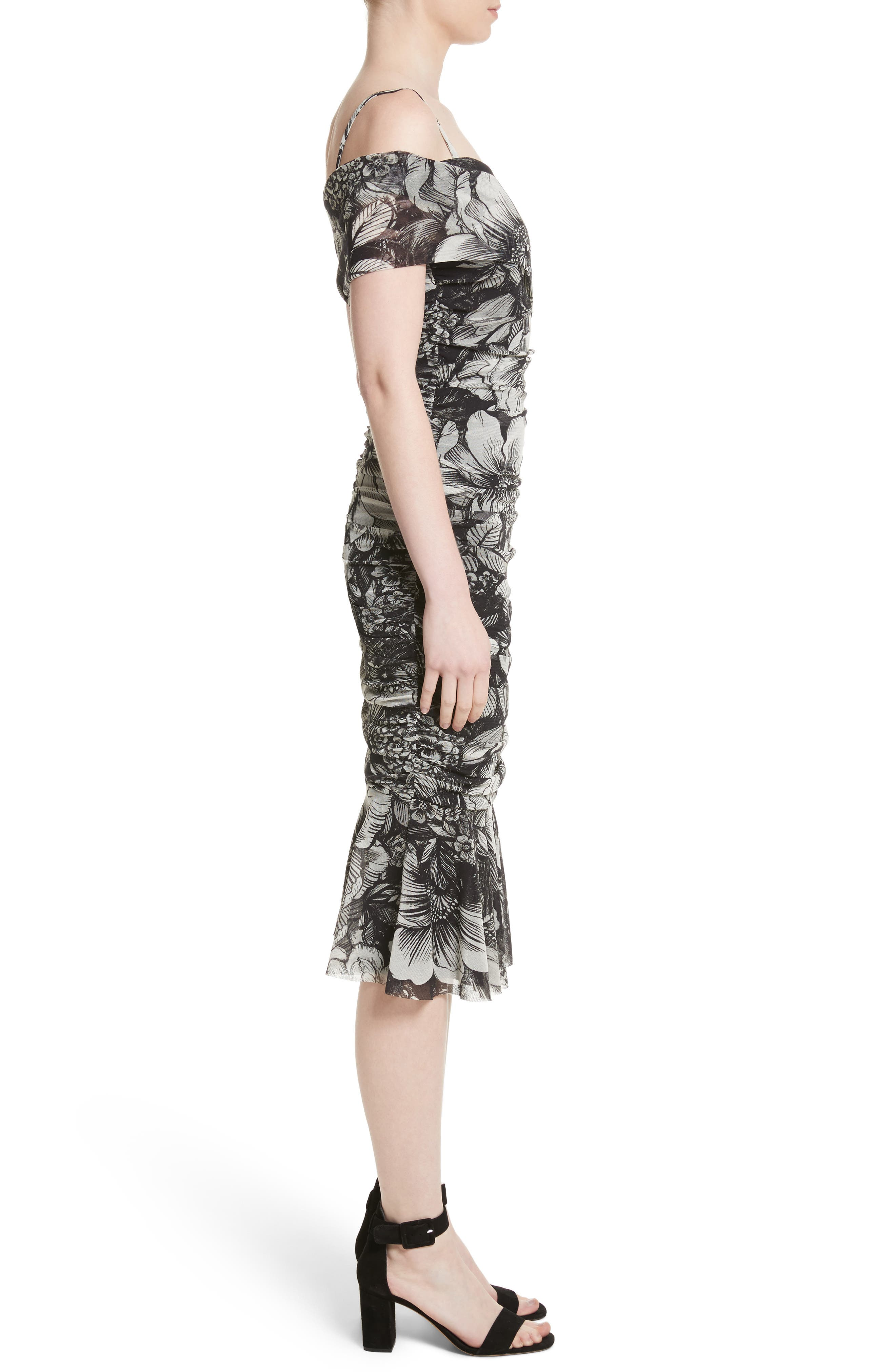 Print Tulle Ruched Off the Shoulder Dress,                             Alternate thumbnail 3, color,                             001