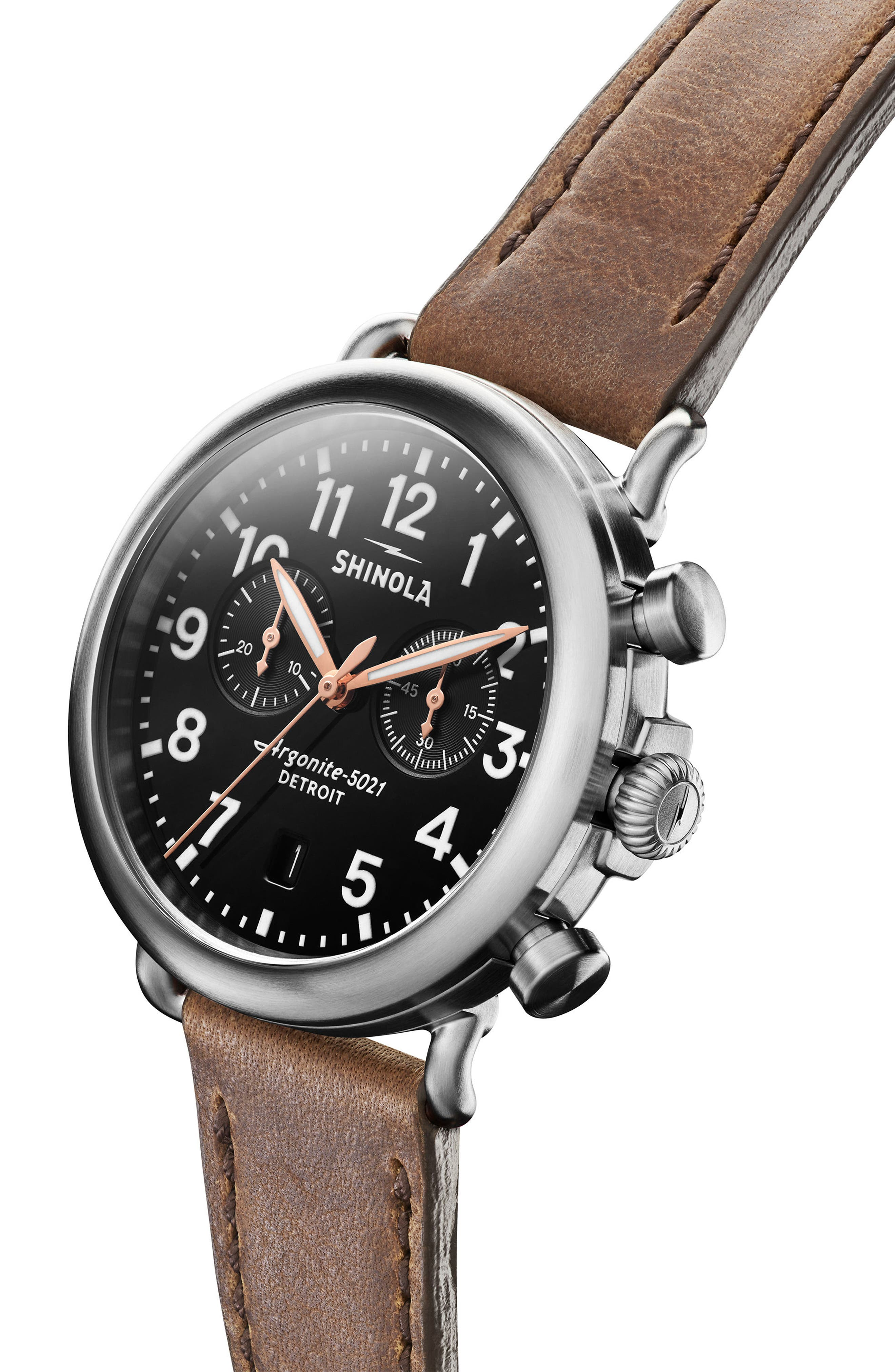 The Runwell Chronograph Leather Strap Watch, 41mm,                             Alternate thumbnail 5, color,                             CATTAIL BROWN/ BLACK/ SILVER