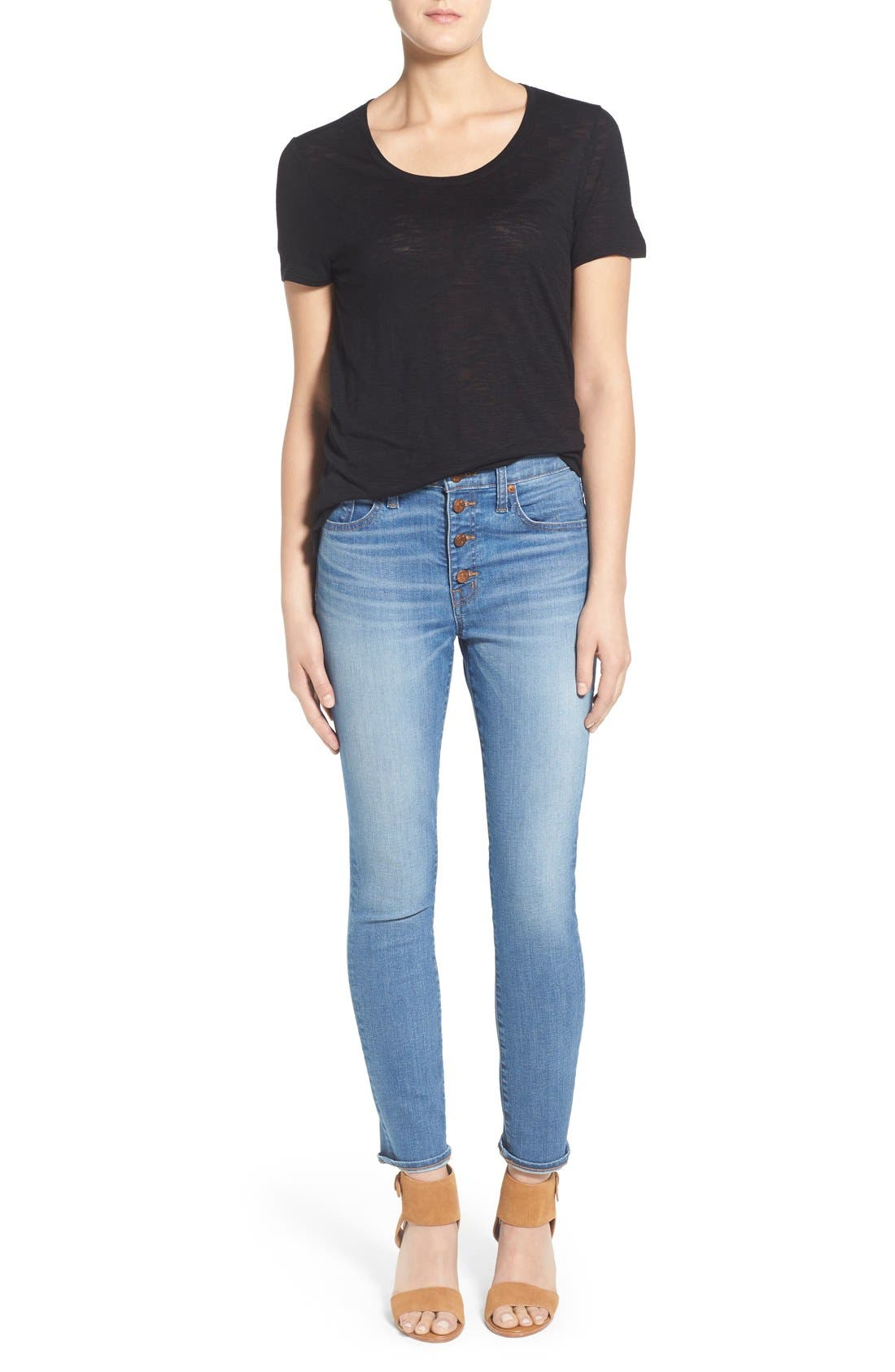 'High Riser - Button Through' Crop Skinny Skinny Jeans,                             Alternate thumbnail 5, color,                             406
