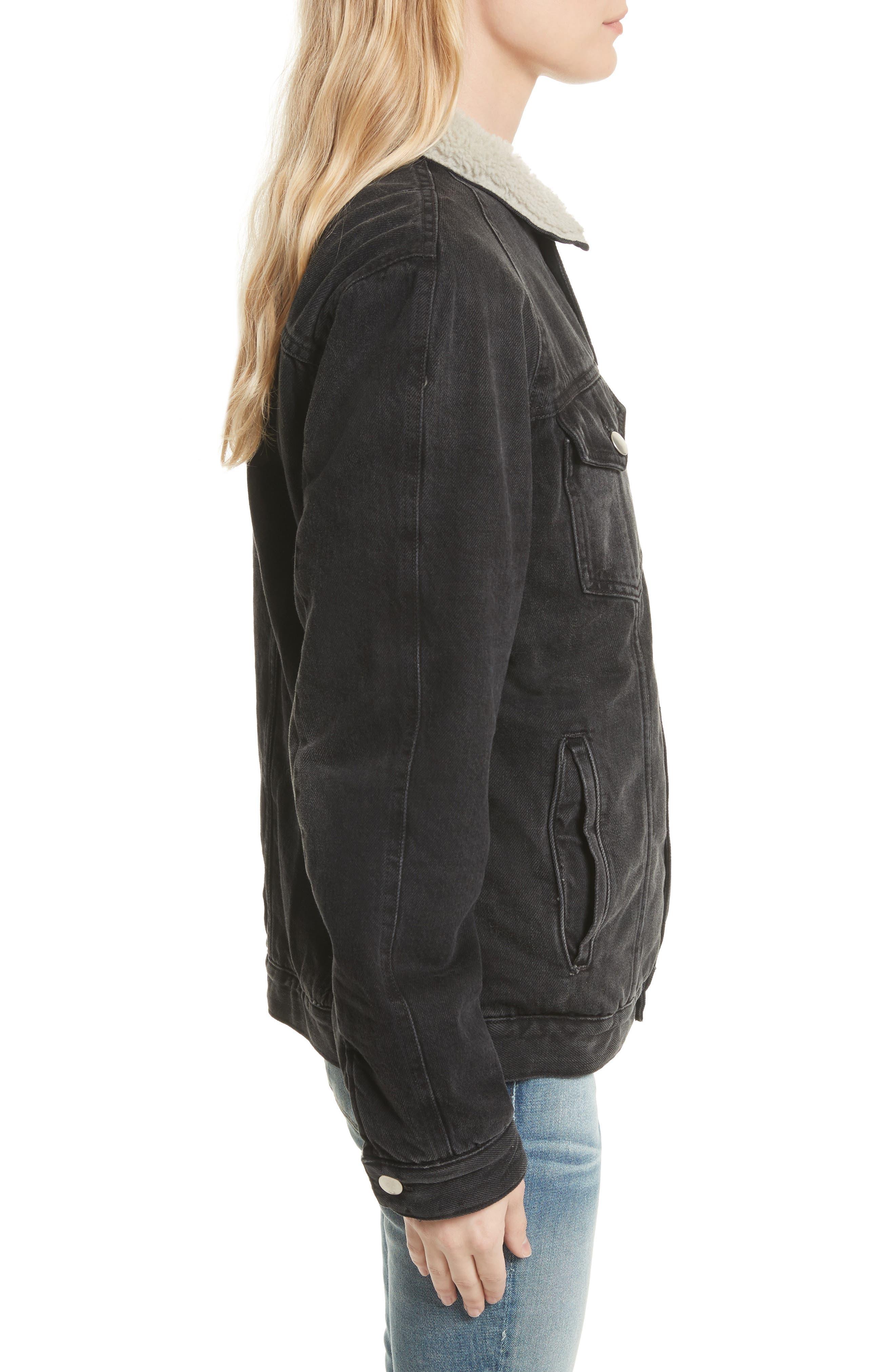 Le Sherpa Denim Jacket,                             Alternate thumbnail 3, color,                             001