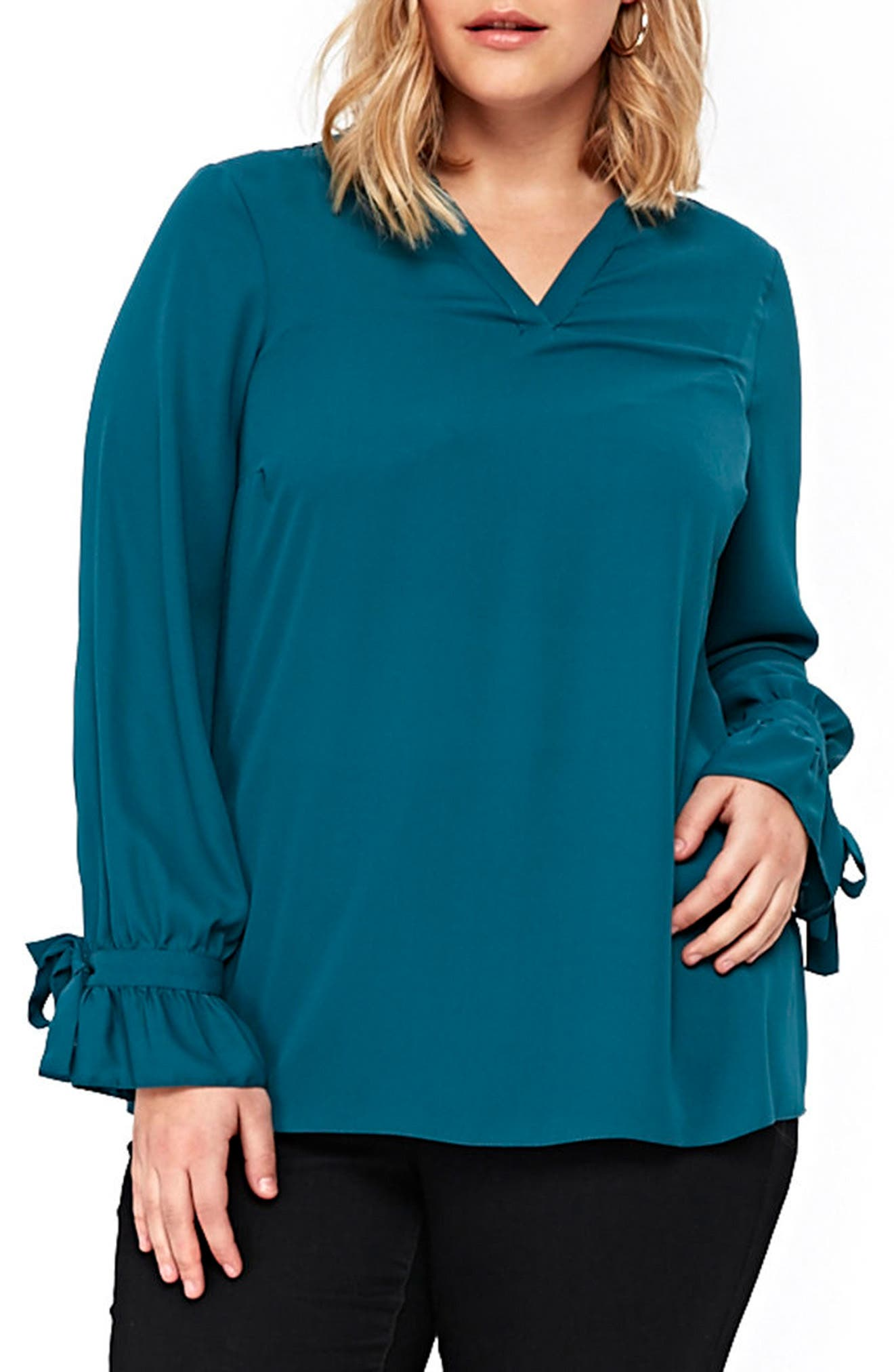 Tie Ruffle Cuff Top,                             Main thumbnail 1, color,                             400