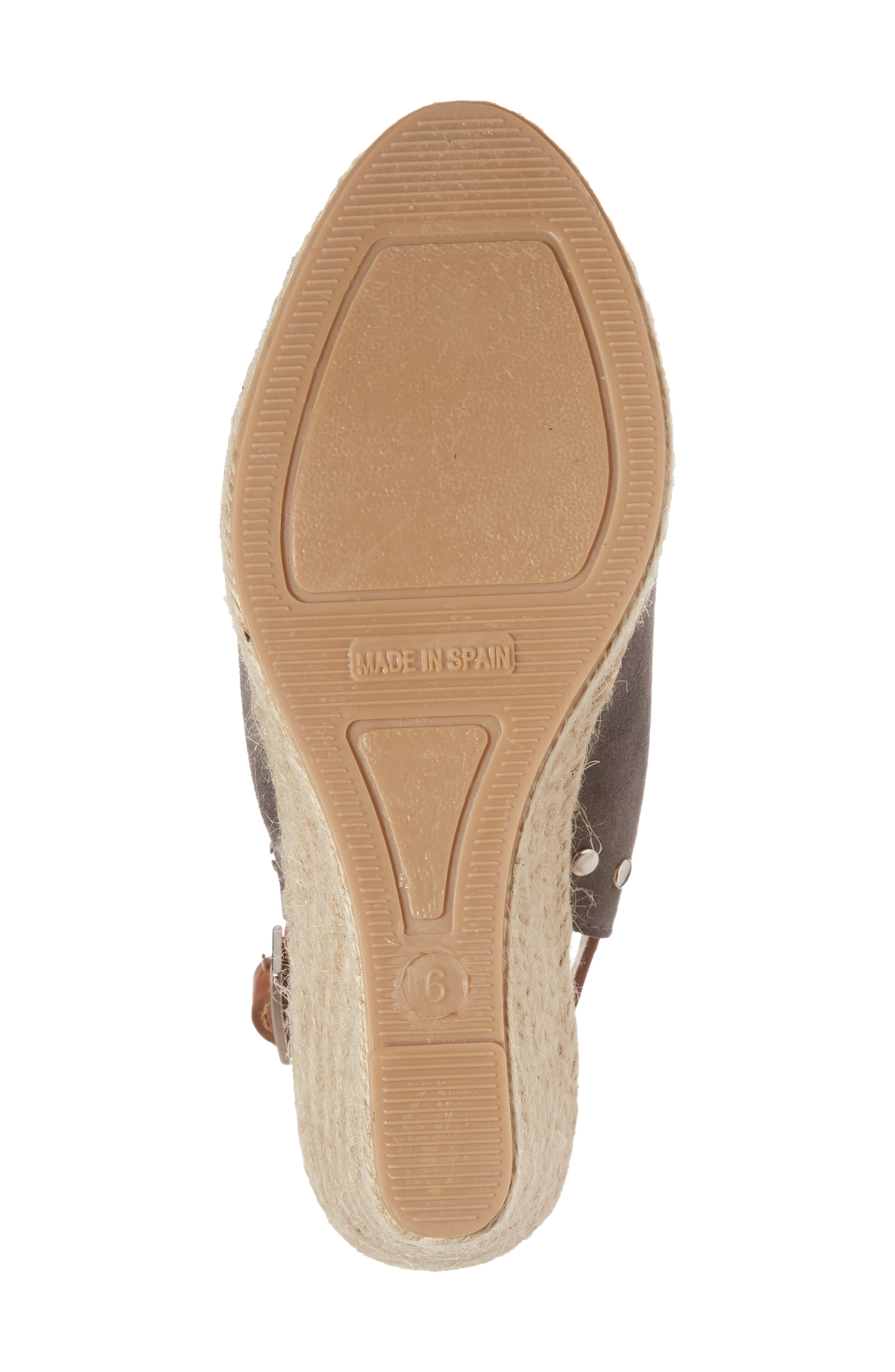 Rockstar Espadrille Wedge Sandal,                             Alternate thumbnail 6, color,                             CHARCOAL SUEDE
