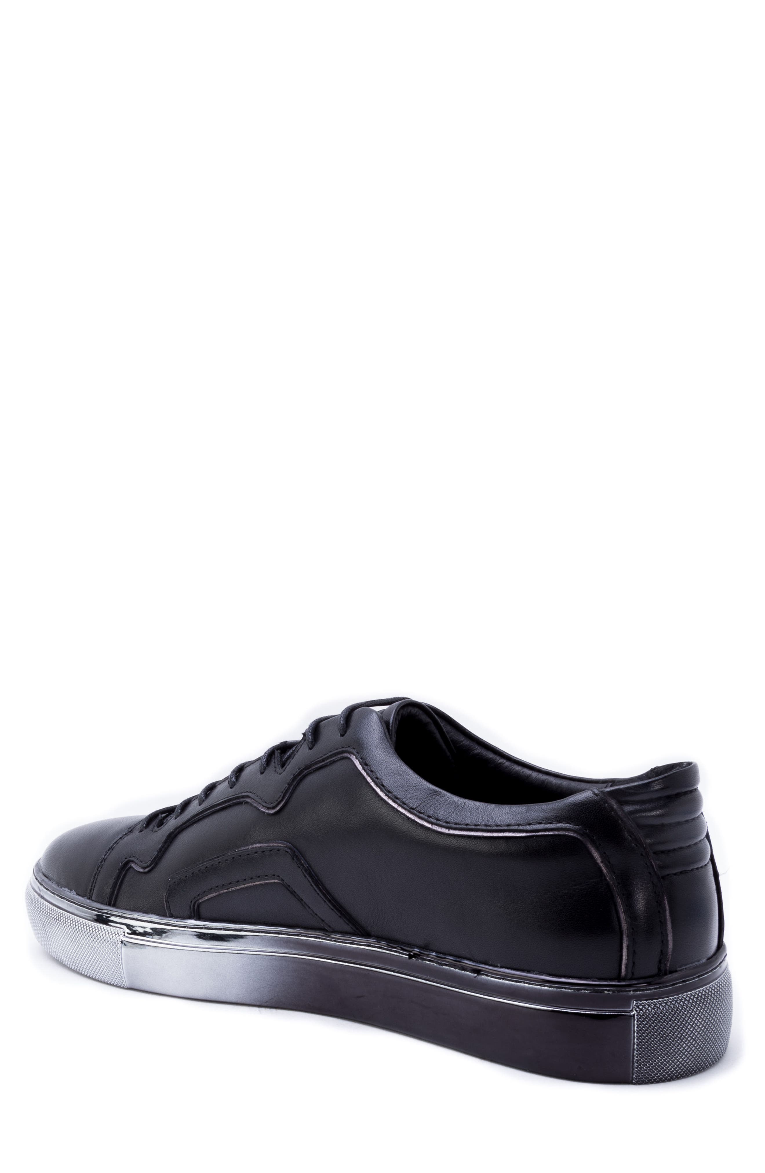 Caine Sneaker,                             Alternate thumbnail 2, color,                             BLACK LEATHER