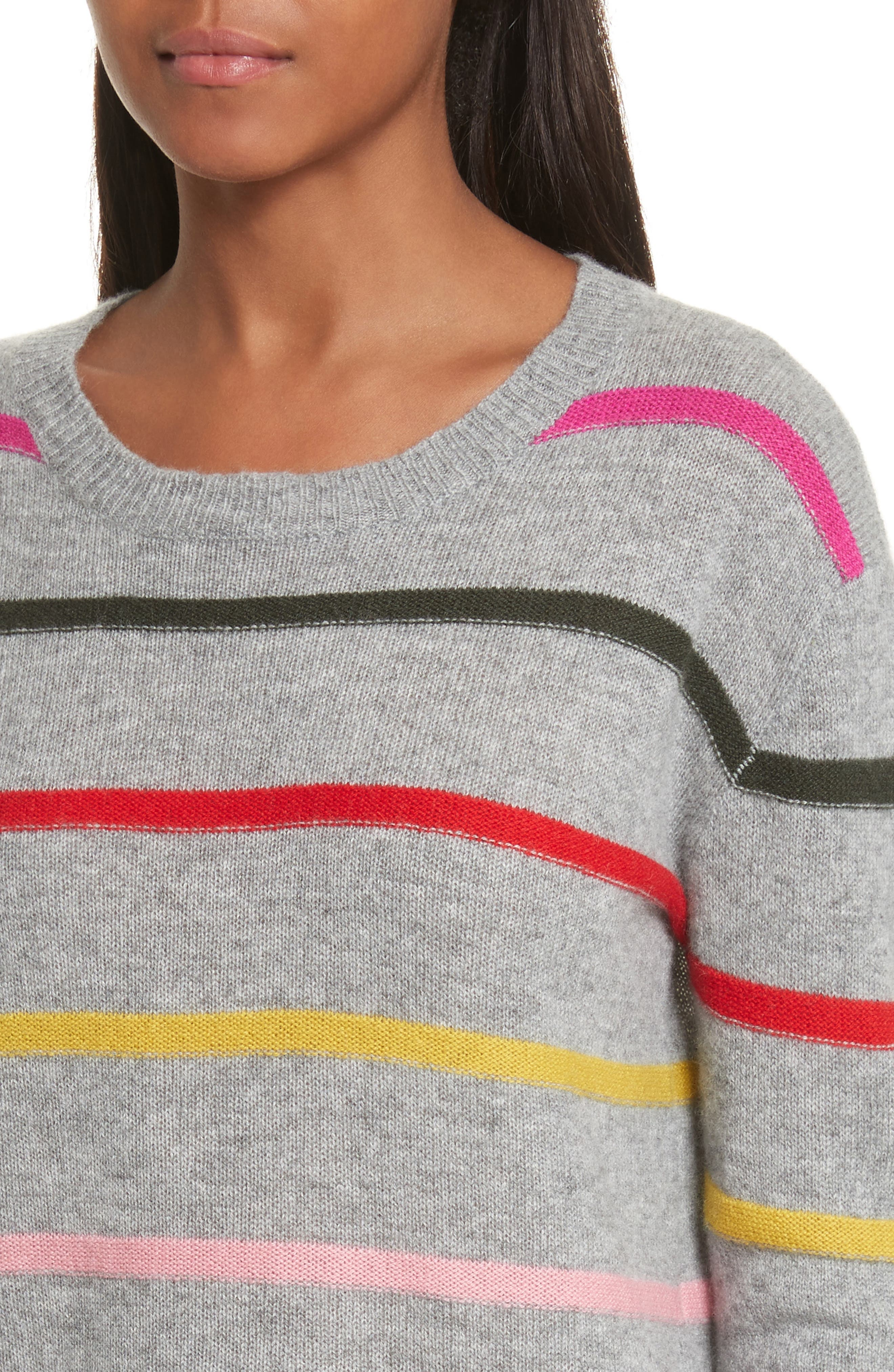 Stripe Cashmere Sweater,                             Alternate thumbnail 4, color,                             021