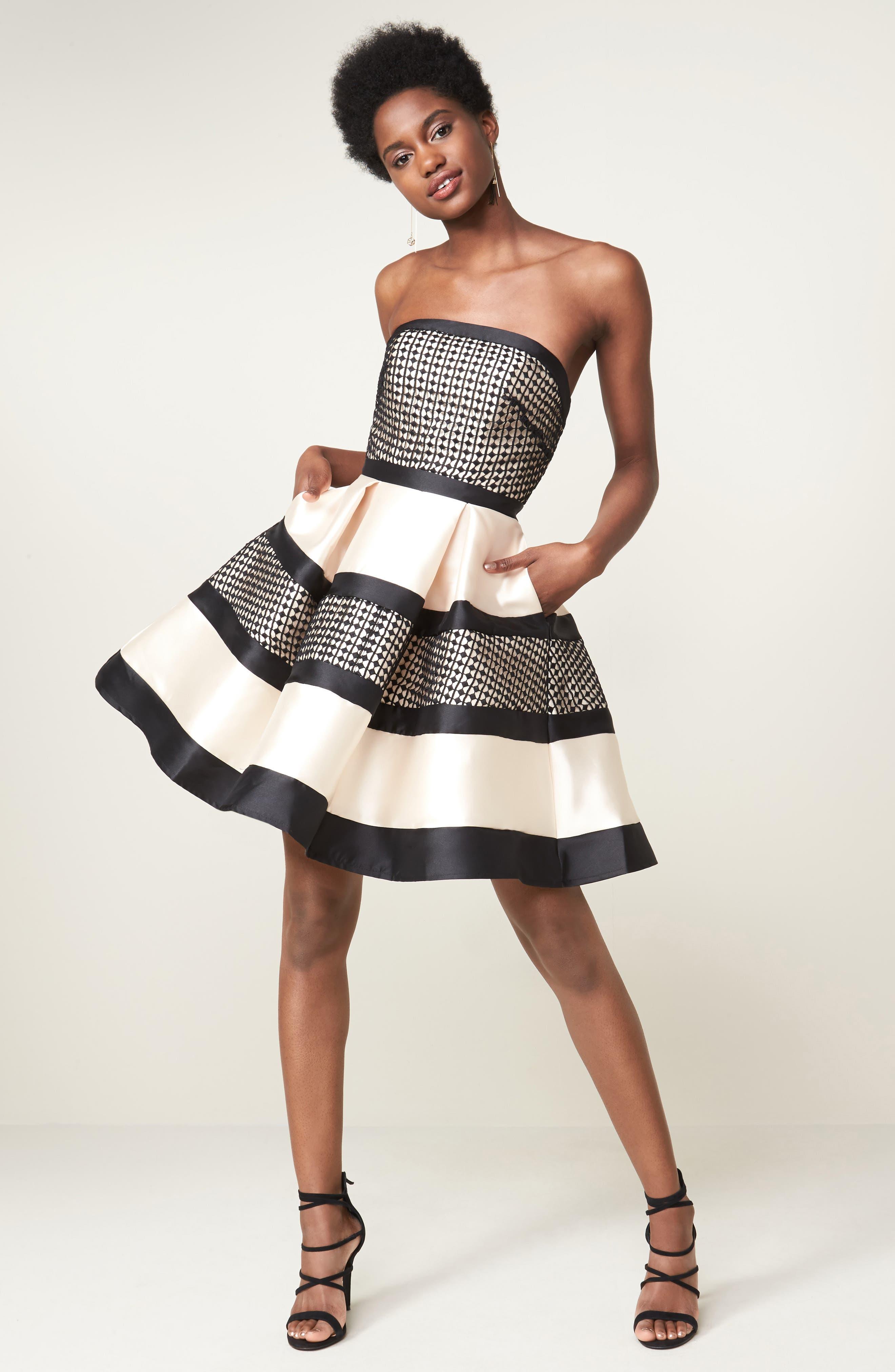 Crochet & Satin Fit & Flare Dress,                             Alternate thumbnail 7, color,