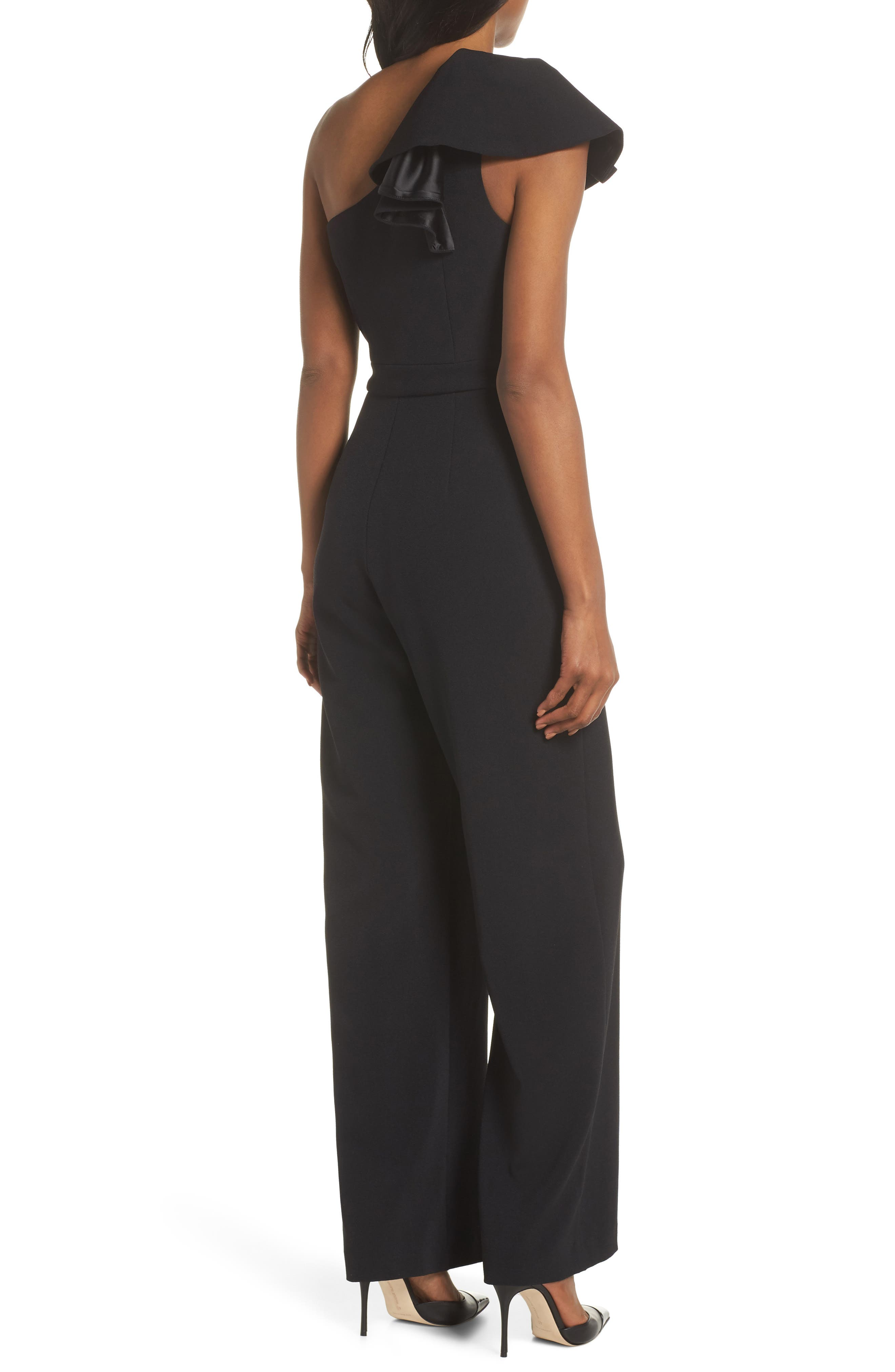 One-Shoulder Ruffle Crepe Jumpsuit,                             Alternate thumbnail 2, color,                             BLACK