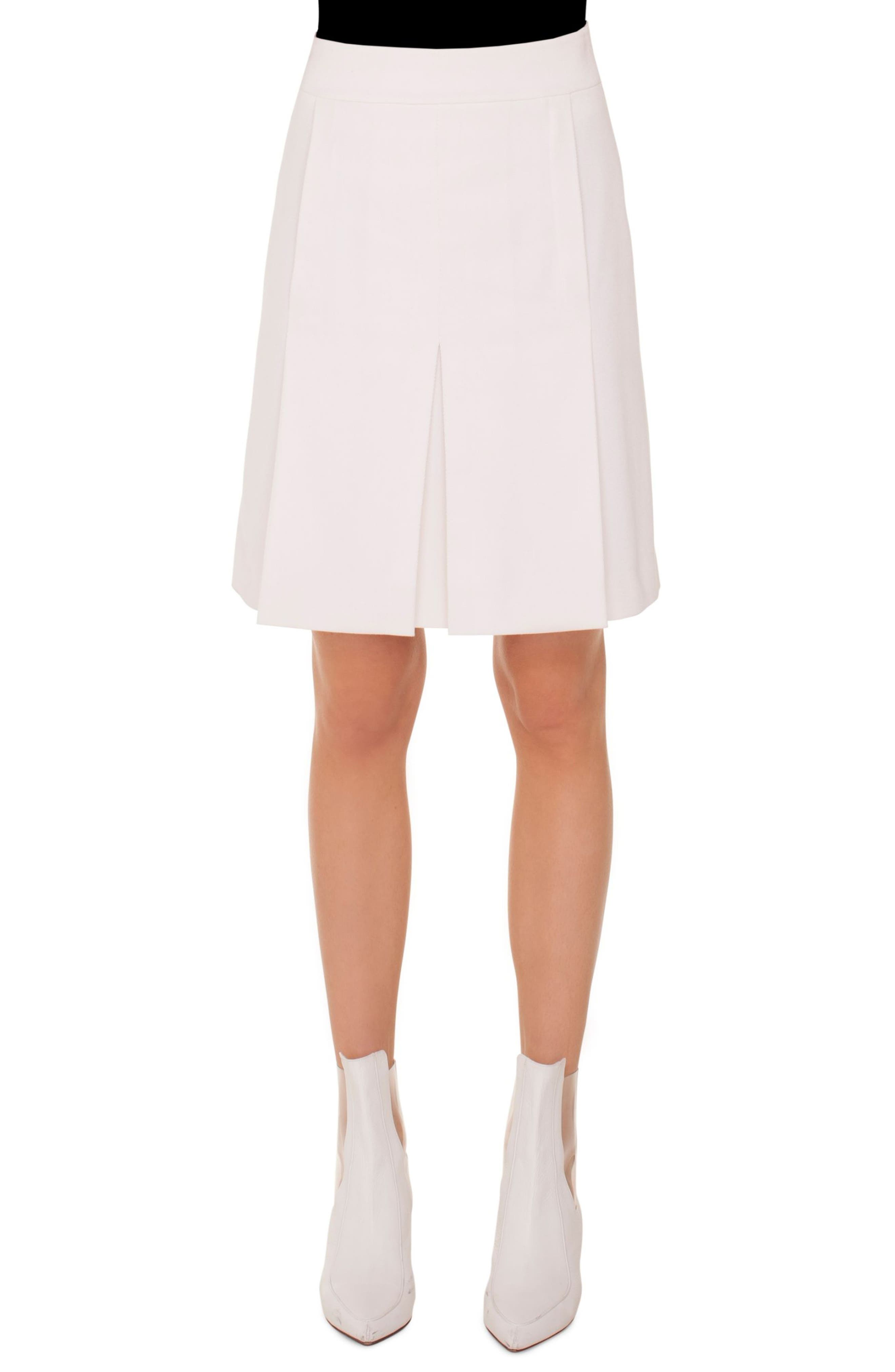 A-Line Tricot Skirt With Side-Seam Pockets in Cream
