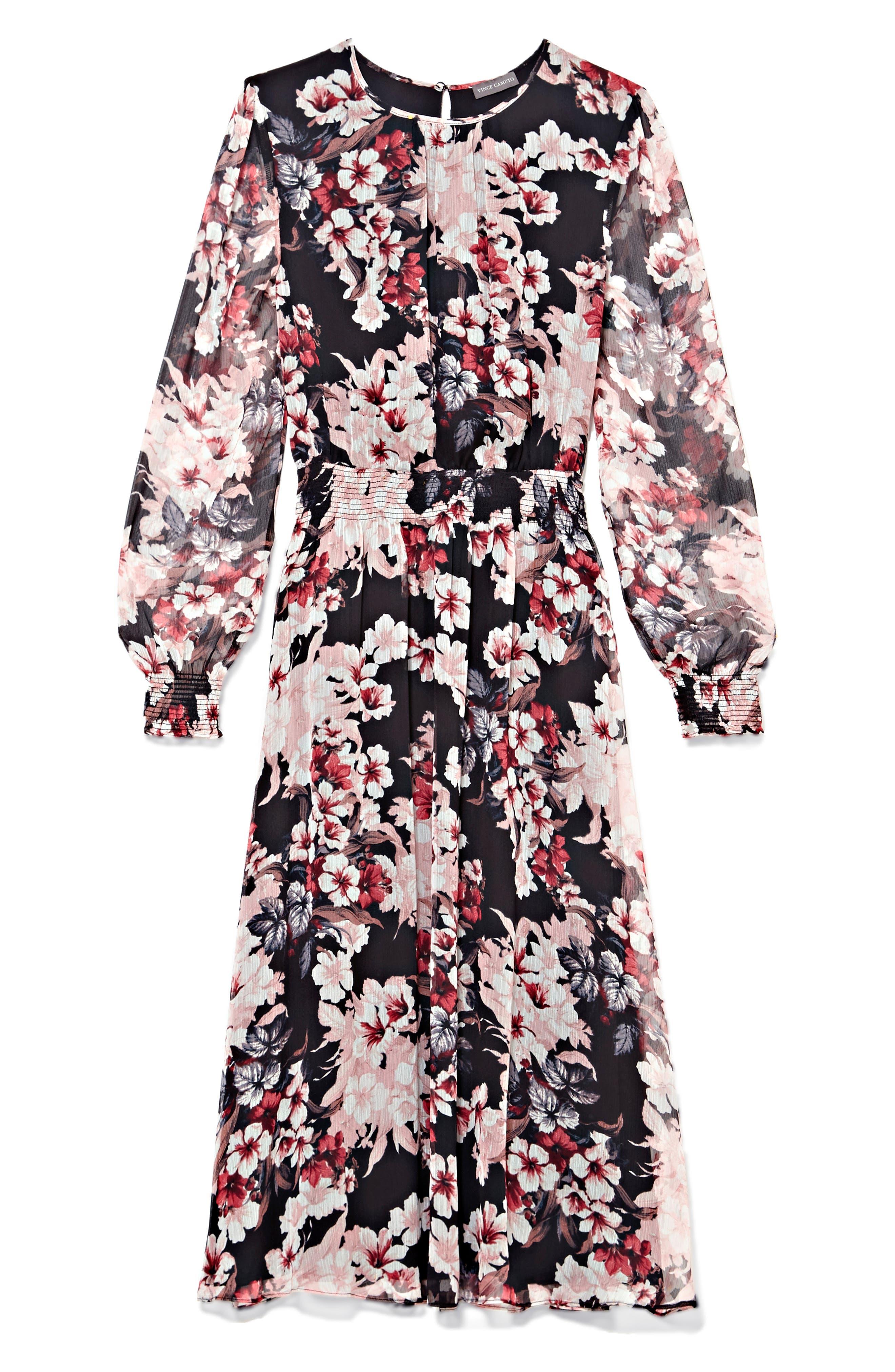 VINCE CAMUTO,                             Timeless Blooms Cinch Waist Midi Dress,                             Alternate thumbnail 3, color,                             006