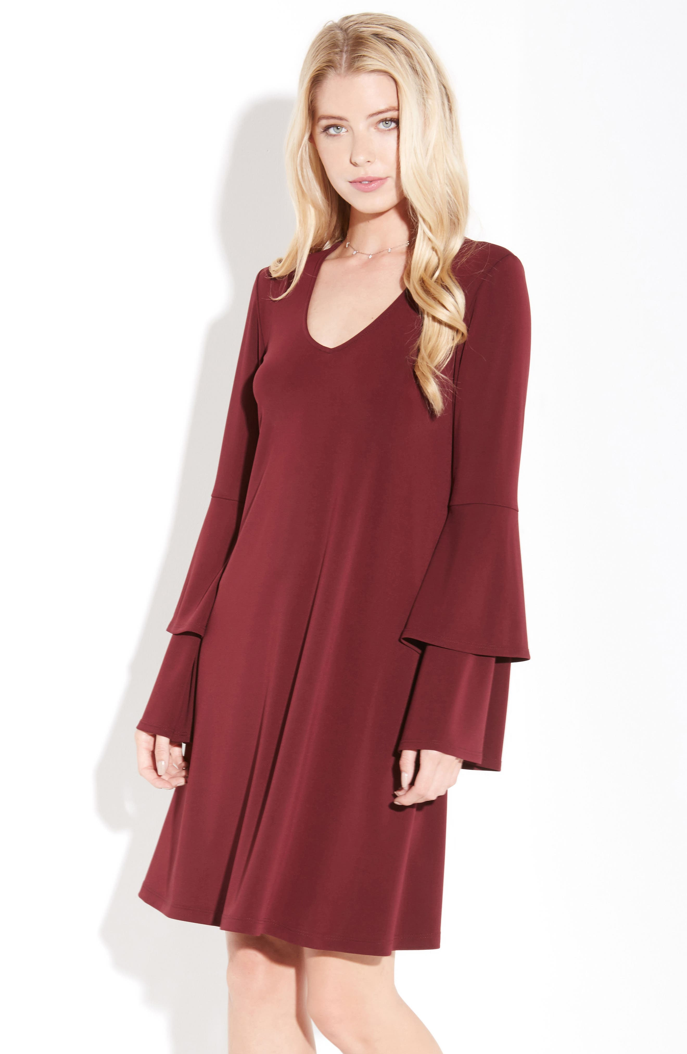 Tiered Bell Sleeve A-Line Dress,                             Alternate thumbnail 6, color,