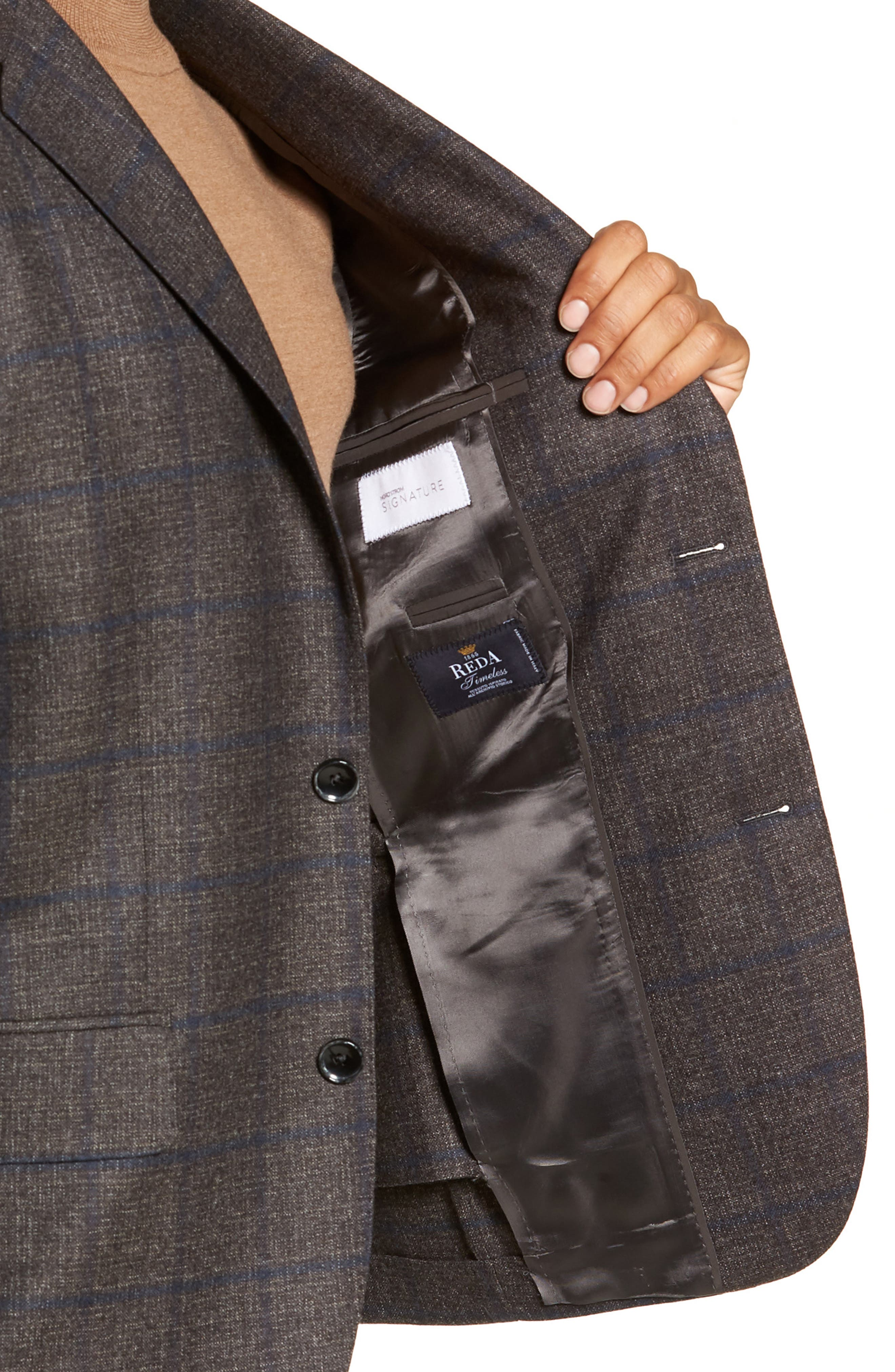 Trim Fit Windowpane Wool Sport Coat,                             Alternate thumbnail 4, color,                             DARK TAUPE