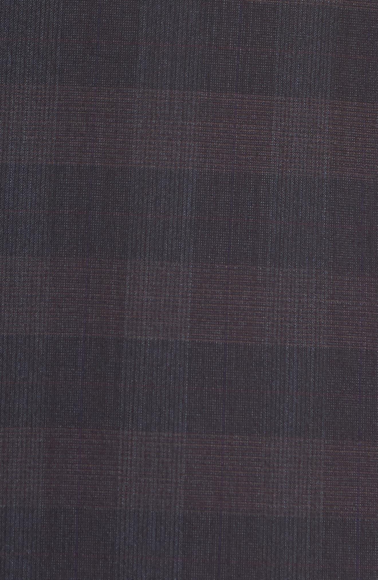 Jay Trim Fit Plaid Wool Suit,                             Alternate thumbnail 7, color,                             001
