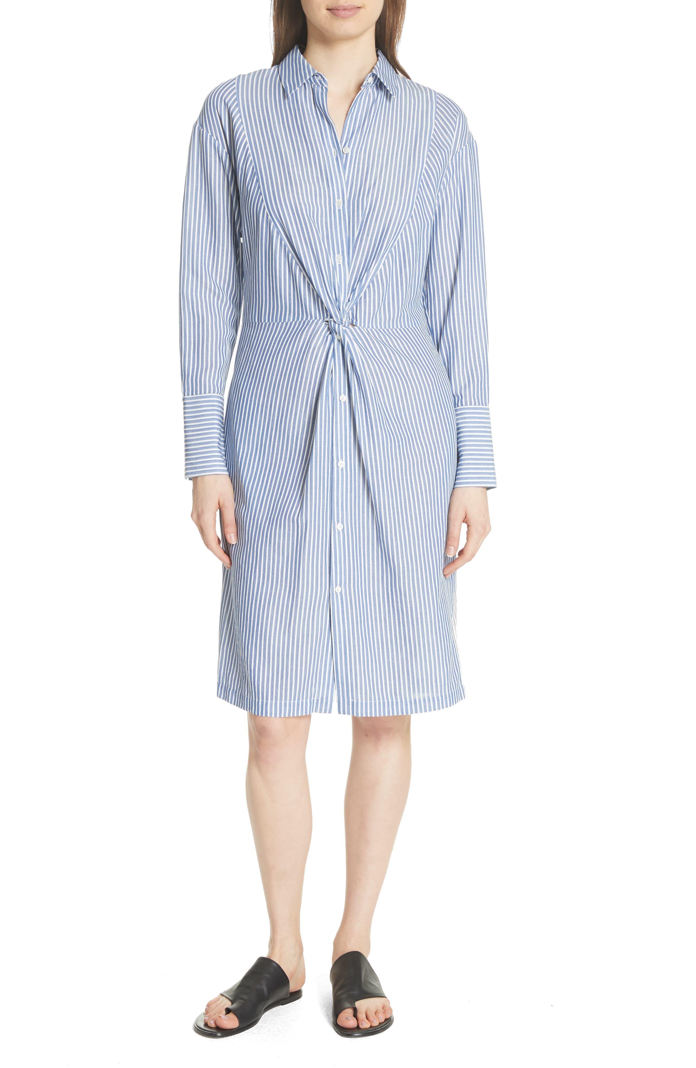 Classic Stripe Twist Cotton Blend Shirtdress,                             Alternate thumbnail 5, color,                             460