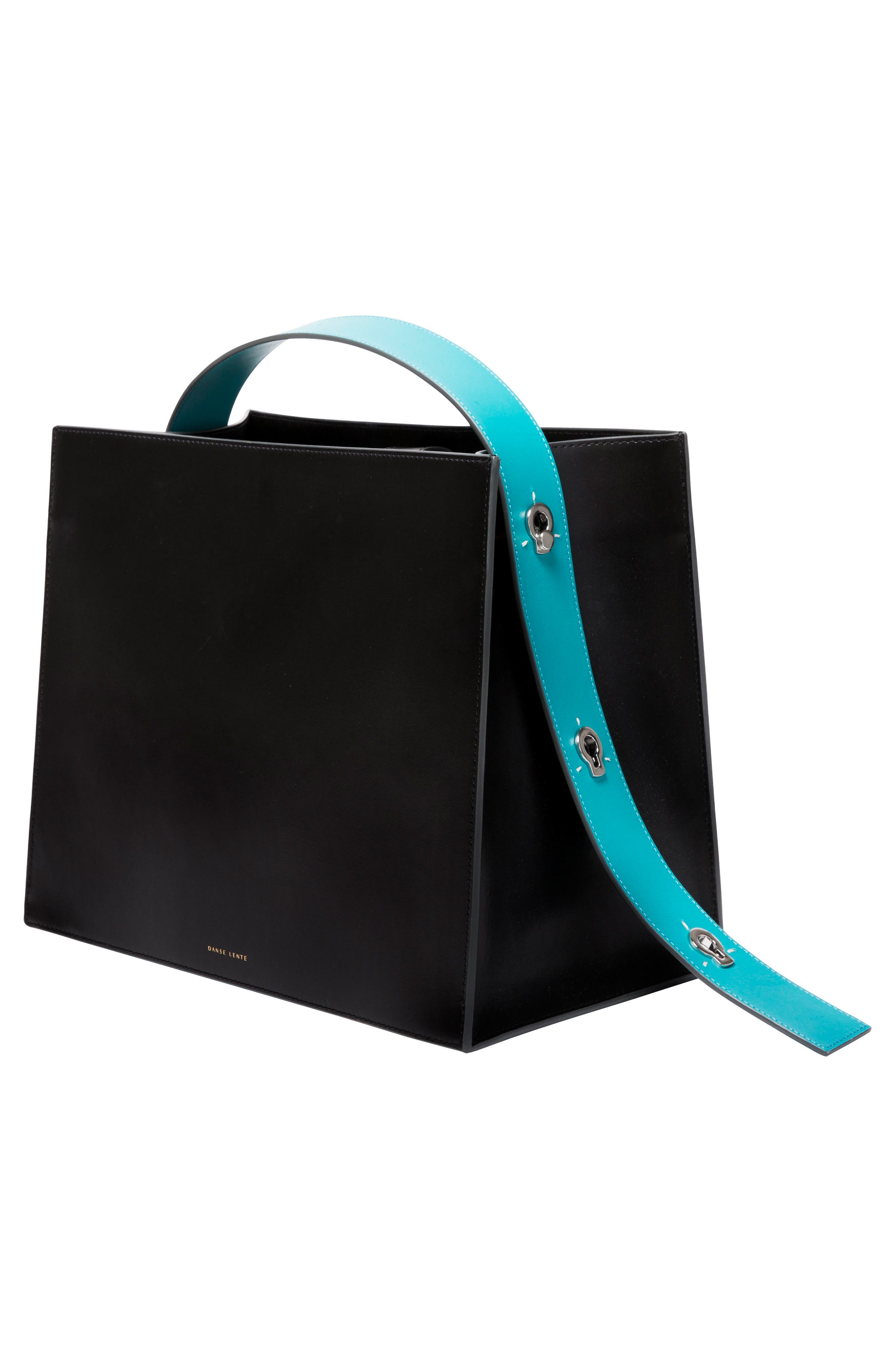 Young Leather Tote Bag,                             Alternate thumbnail 3, color,                             BLACK