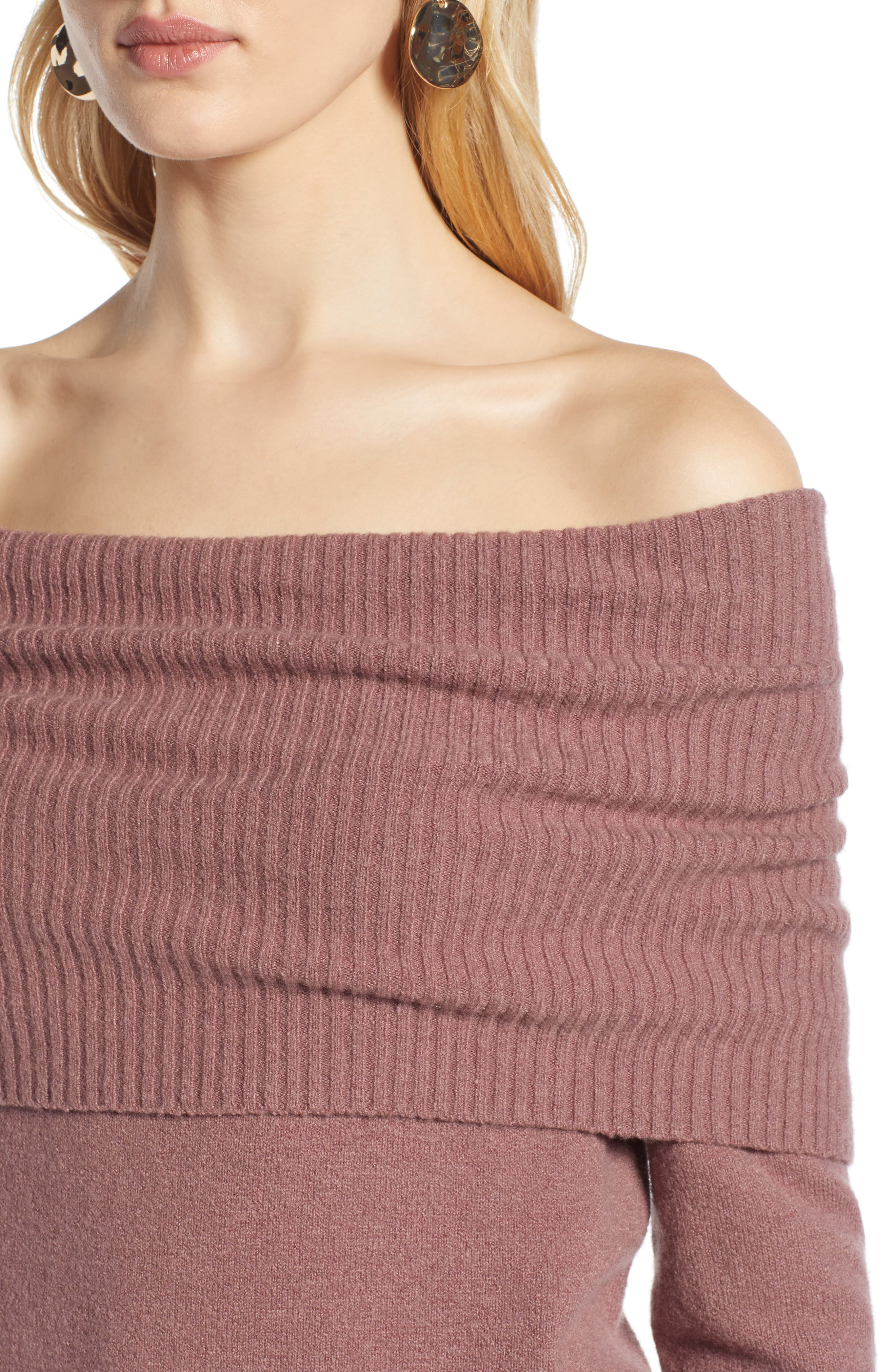 Convertible Neck Sweater,                             Alternate thumbnail 4, color,                             PURPLE TAUPE