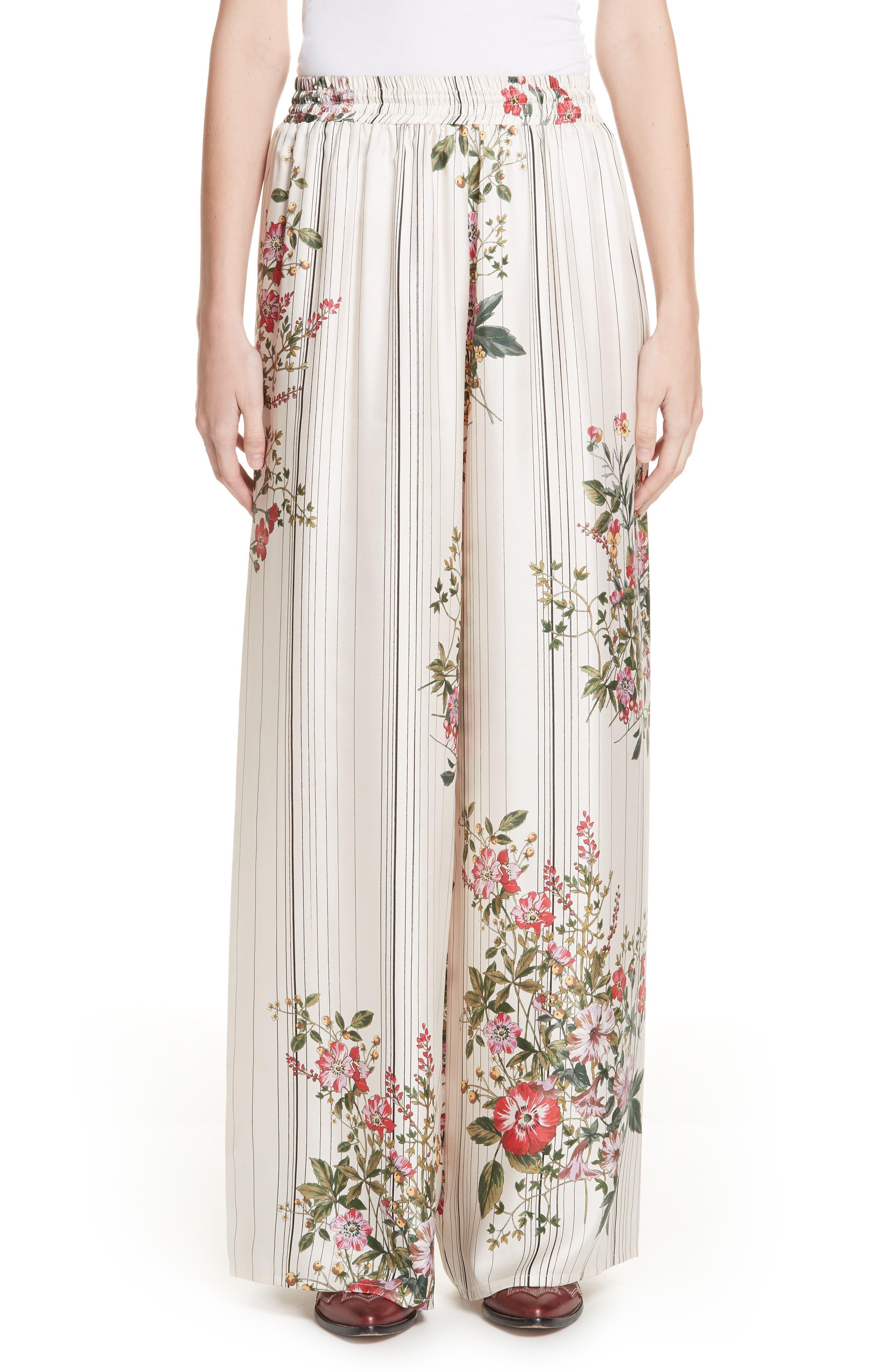 Conner Floral & Stripe Wide Leg Silk Pants,                             Main thumbnail 1, color,                             MULTI IVOIRE