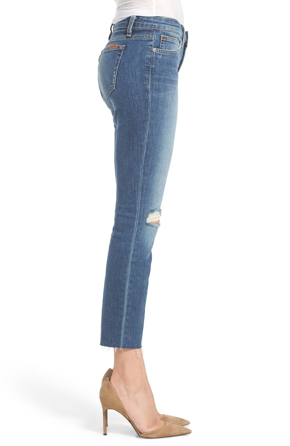 'Icon' Distressed Crop Skinny Jeans,                             Alternate thumbnail 3, color,                             430