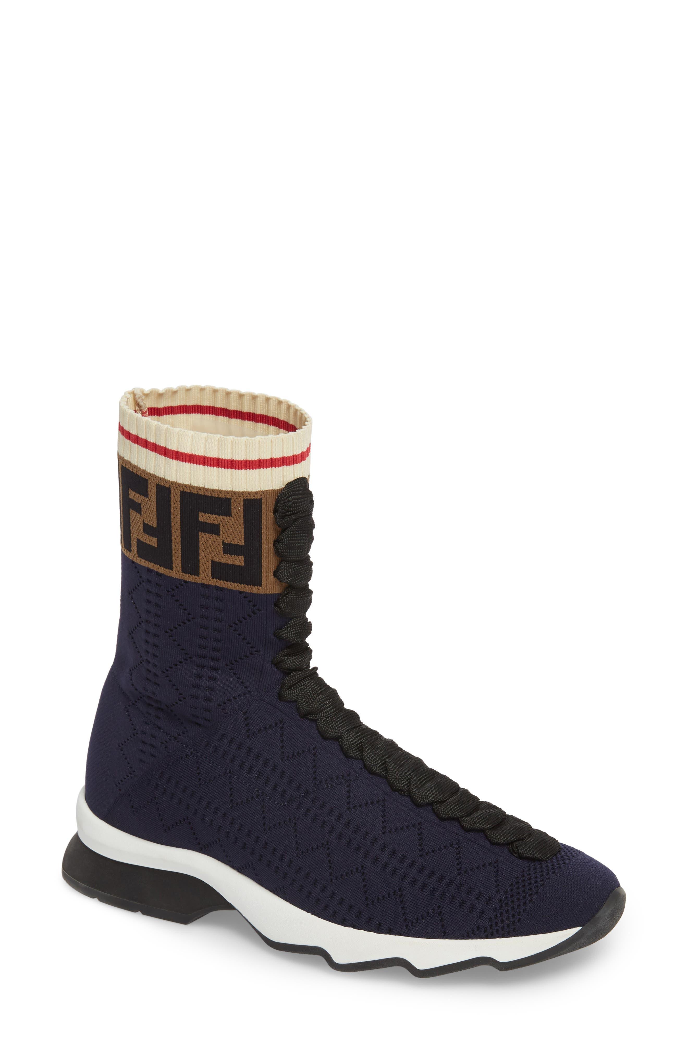 Rockoko Logo Sock Sneaker,                             Main thumbnail 1, color,                             NAVY