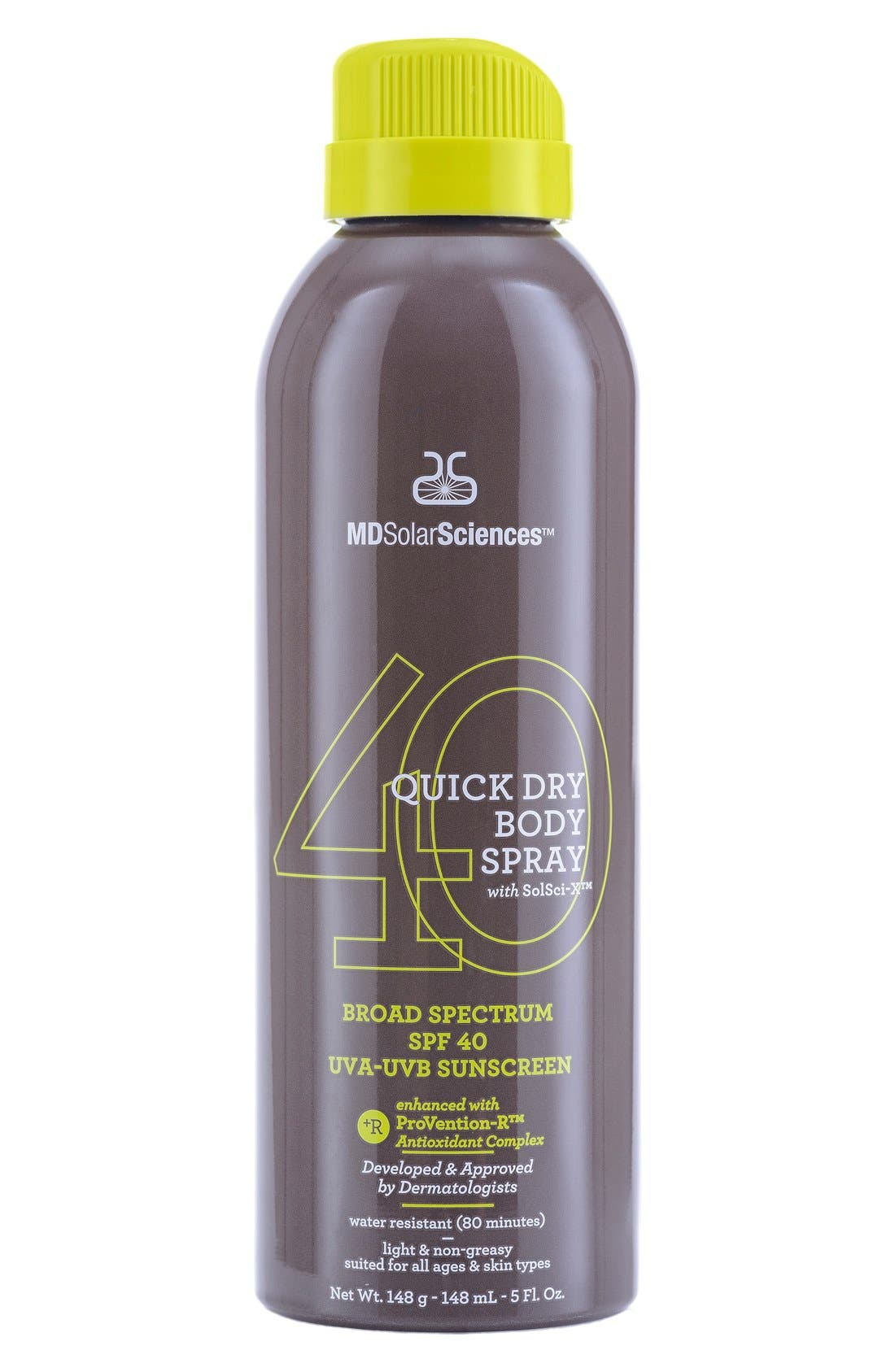 Quick Dry Body Spray Broad Spectrum SPF 40 Sunscreen,                             Main thumbnail 1, color,                             000