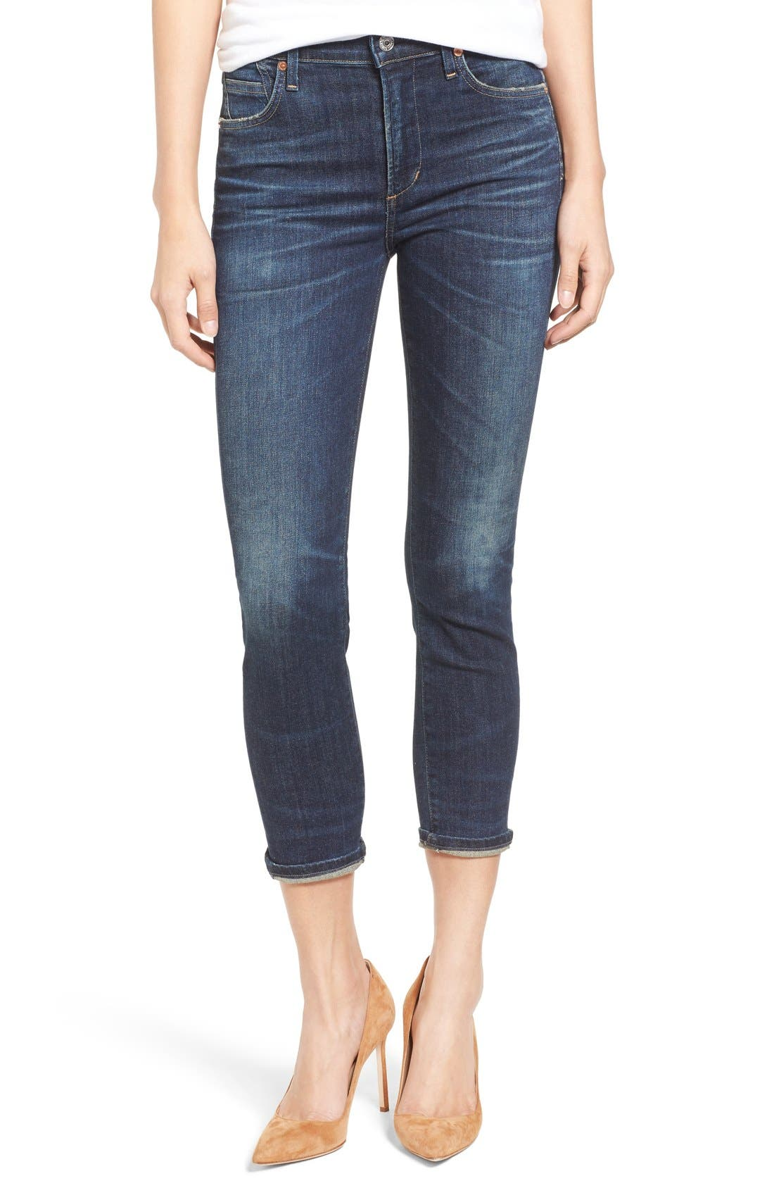 Rocket High Waist Crop Skinny Jeans,                             Alternate thumbnail 4, color,                             410