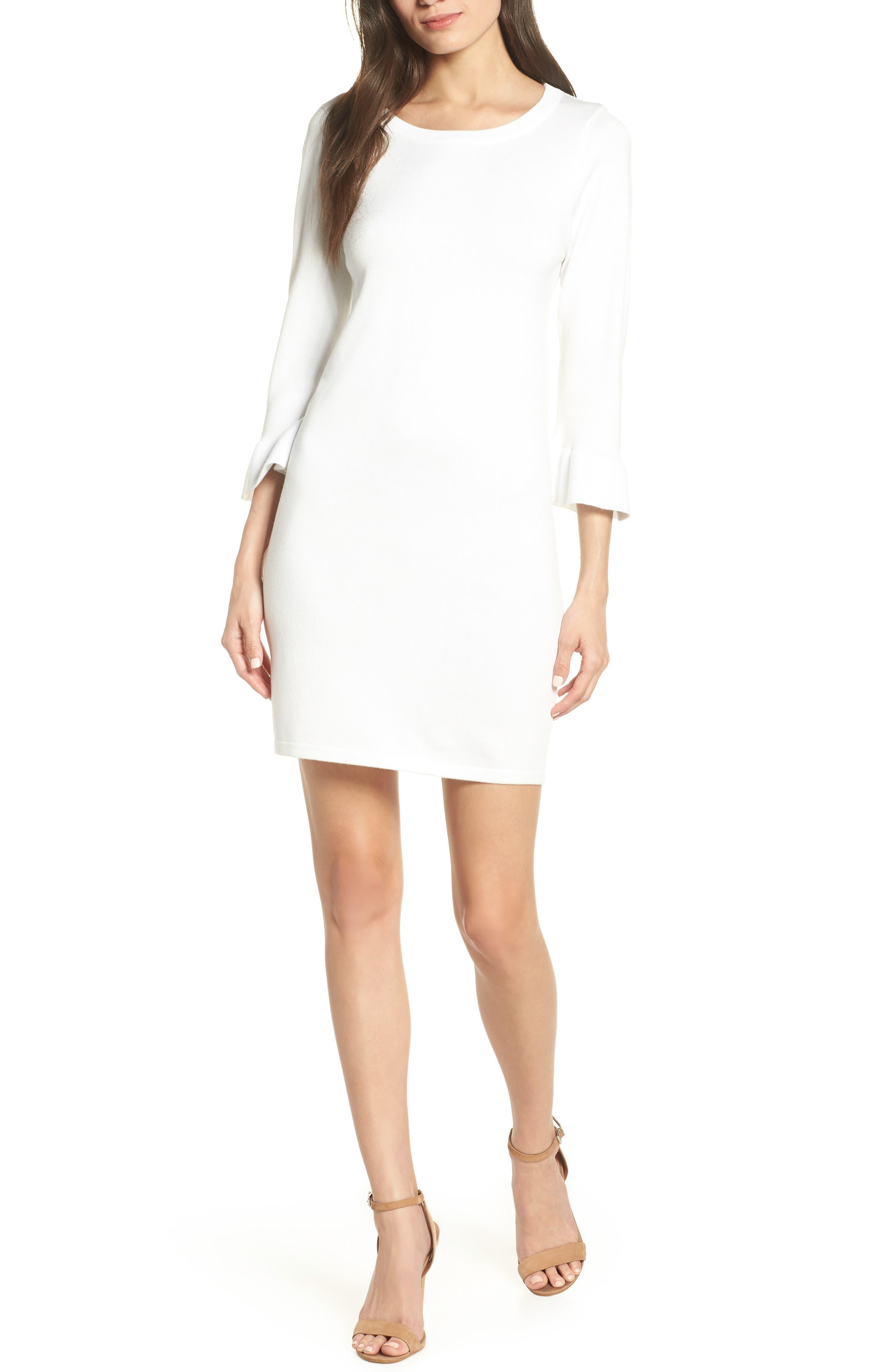 Bb Dakota Now Or Never Ruffle Sweater Dress, Ivory