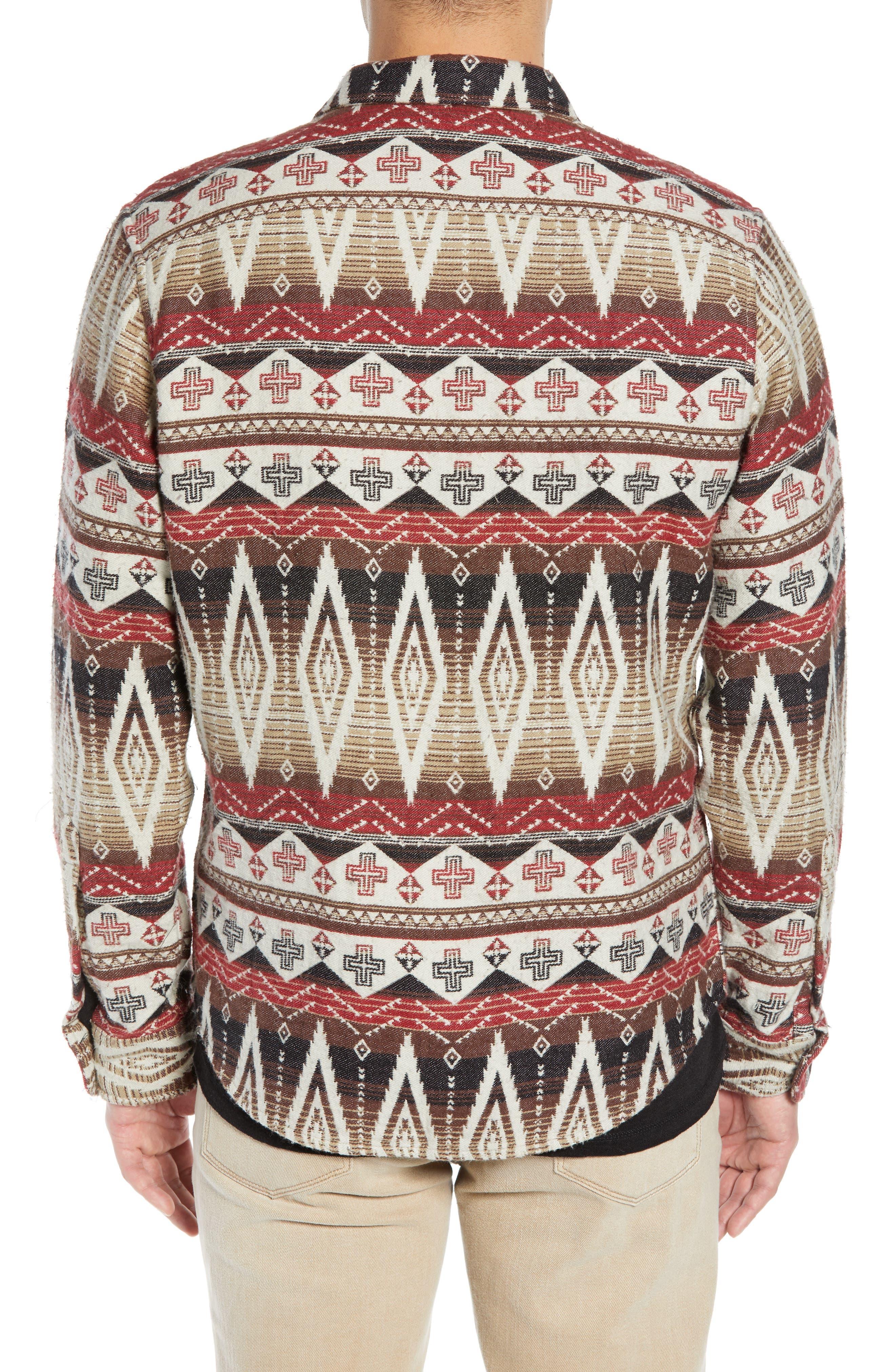 Geo Blanket Shirt Jacket,                             Alternate thumbnail 2, color,                             BEIGE RAINY DAY TRIBAL PRINT