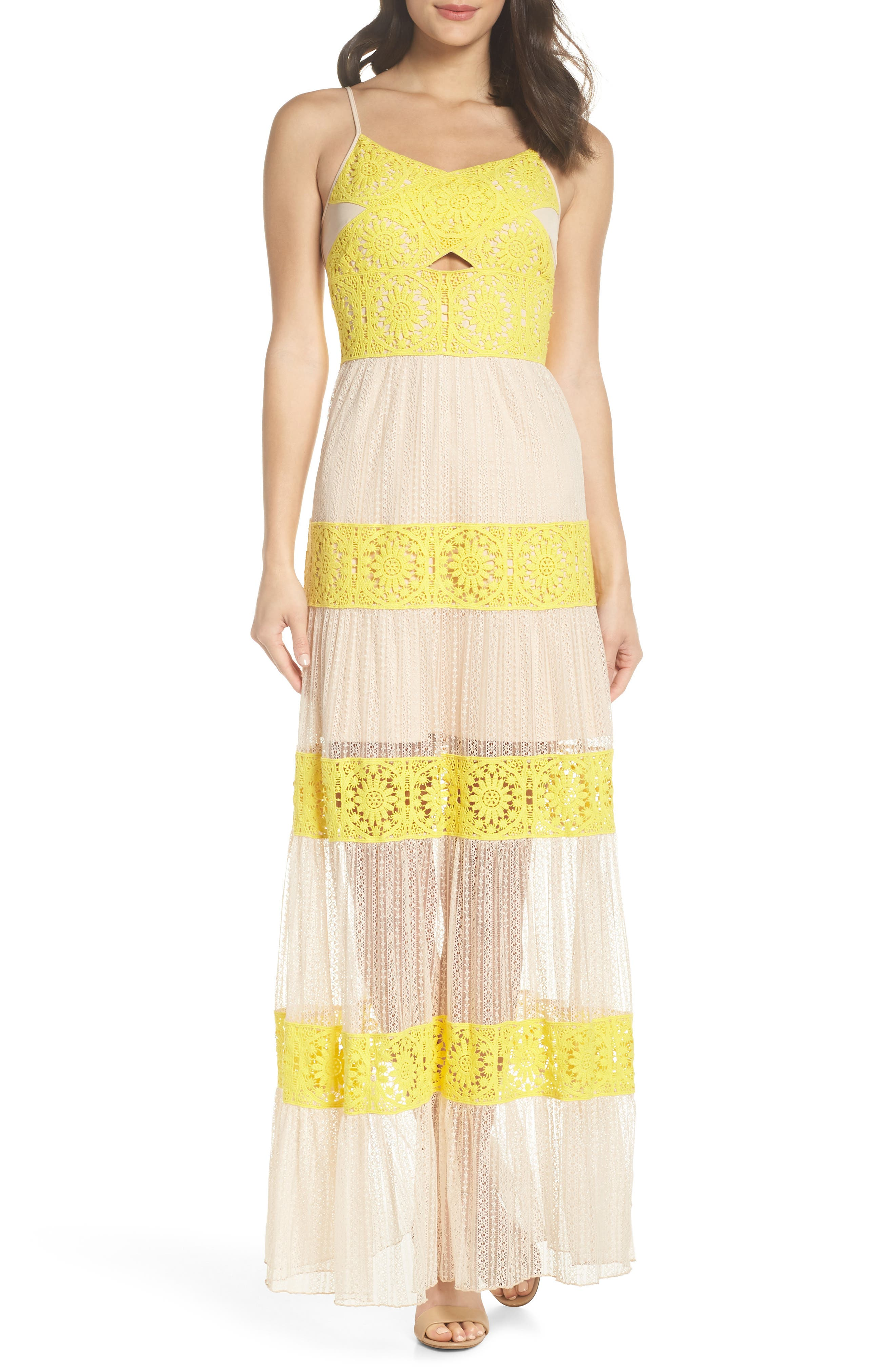 Mia Two-Tone Lace Gown,                             Main thumbnail 1, color,                             YELLOW/ NUDE