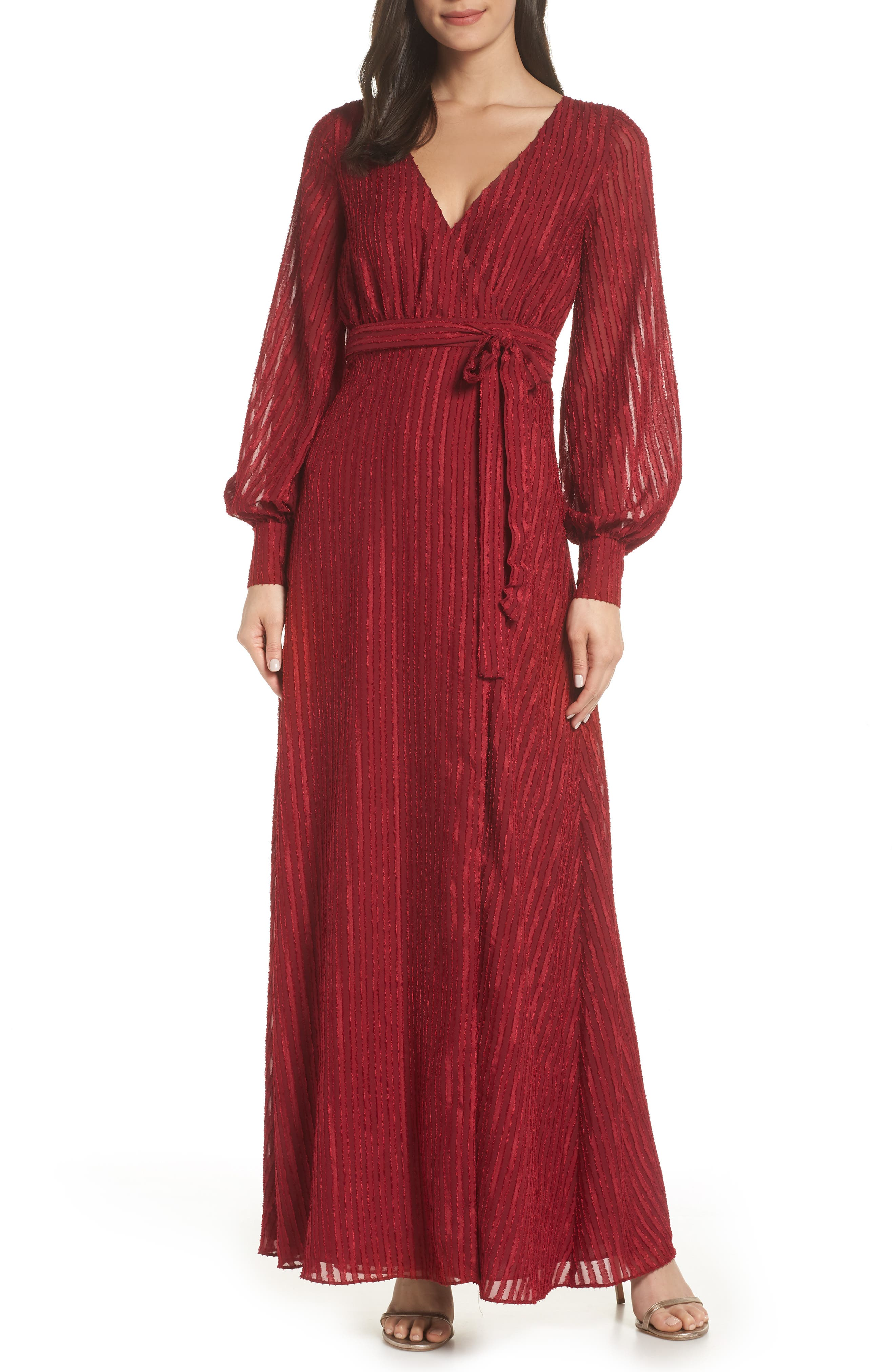FAME AND PARTNERS The Rachel Wrap Gown in Burgundy