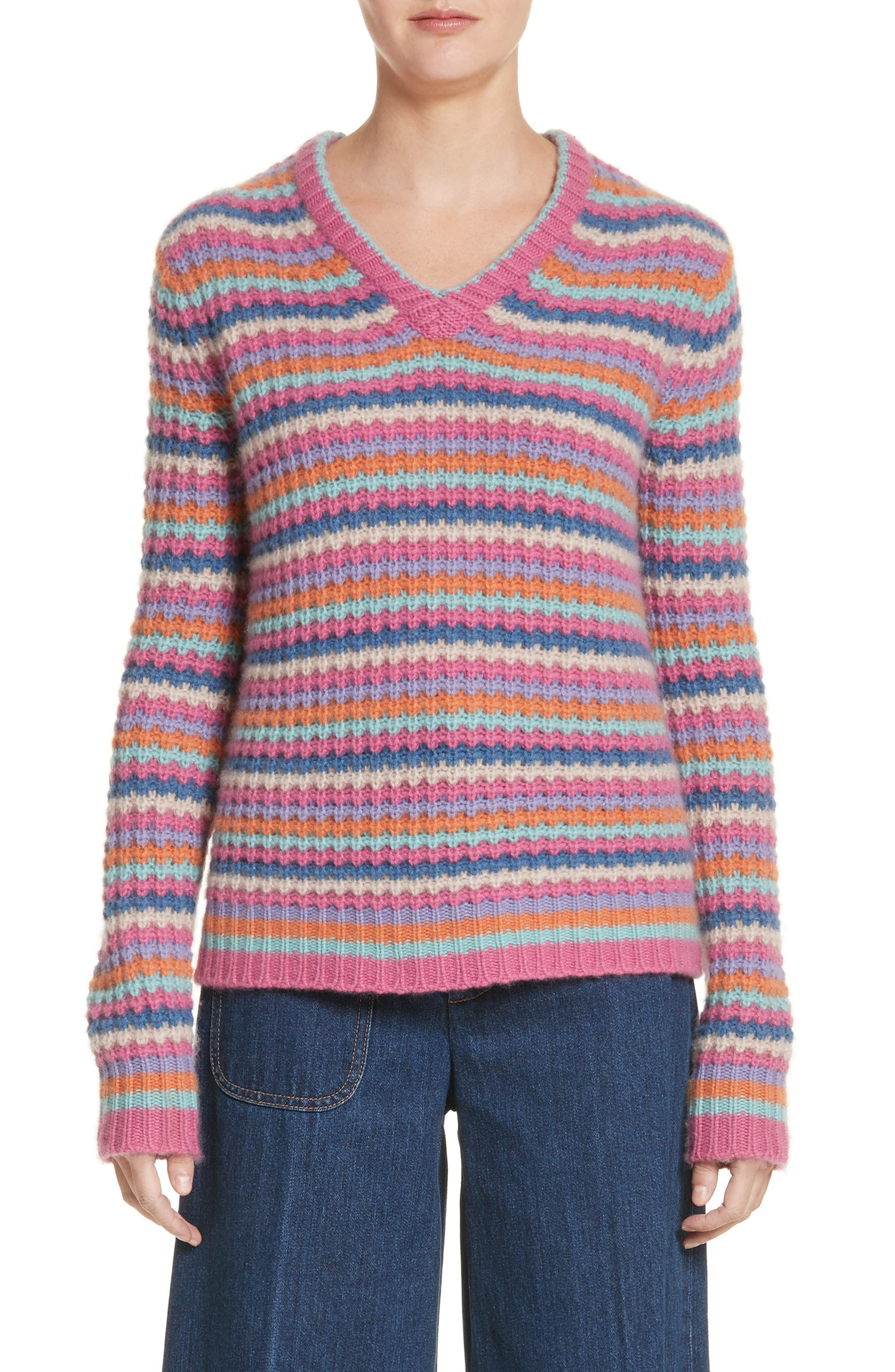 Stripe Cashmere Sweater,                             Main thumbnail 1, color,                             651