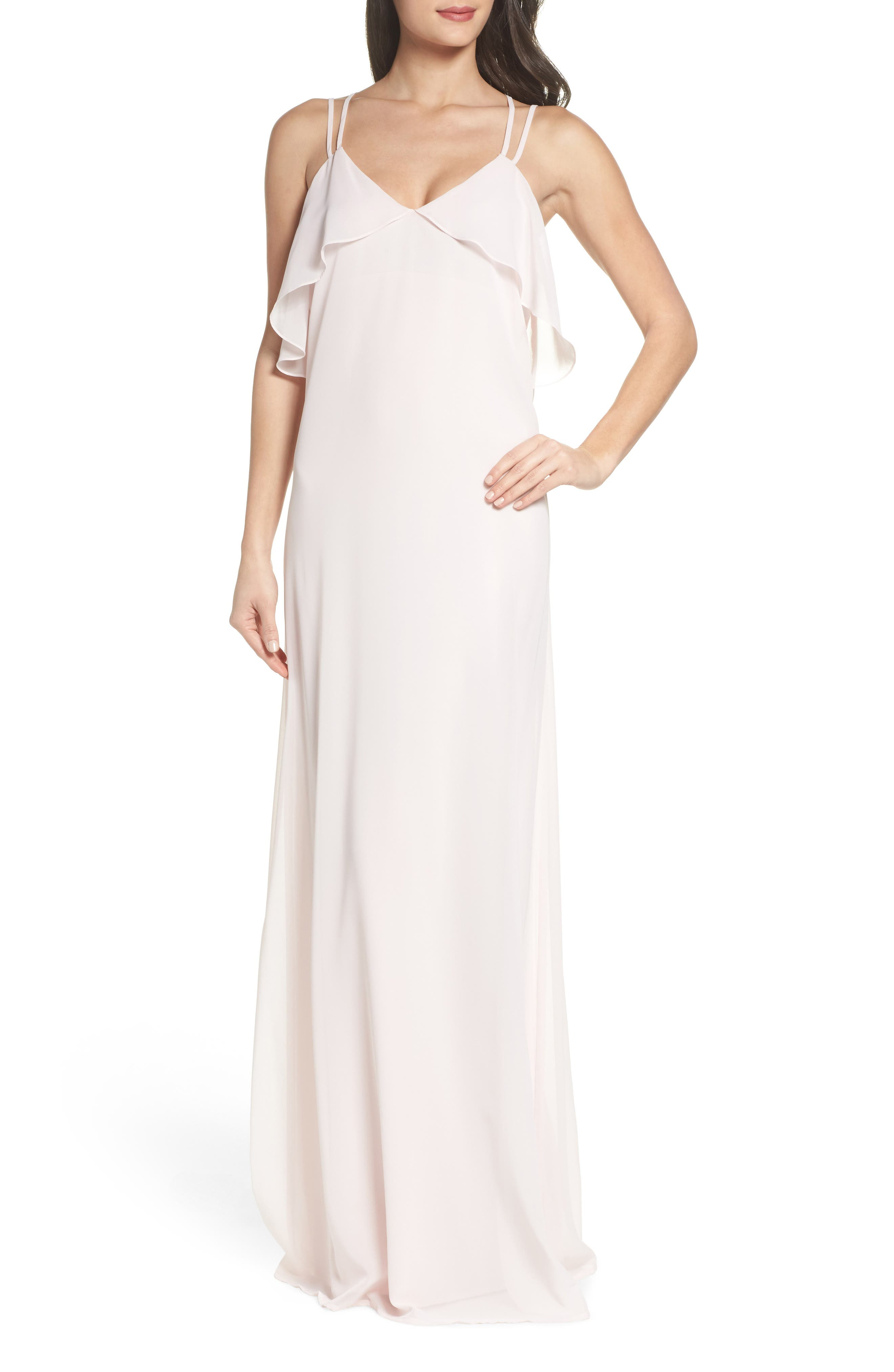 Avery Strappy Ruffle V-Neck Gown,                             Main thumbnail 2, color,