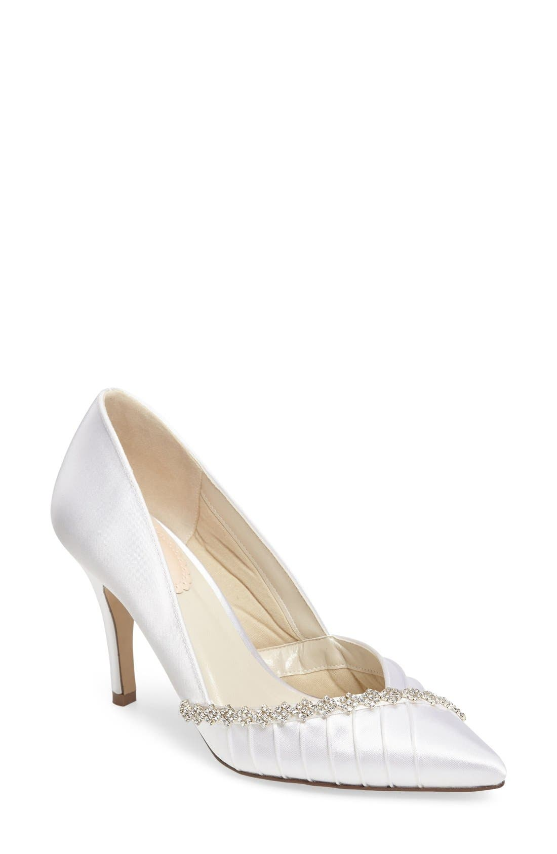 Union Crystal Embellished Pointy Toe Pump,                             Main thumbnail 1, color,                             100