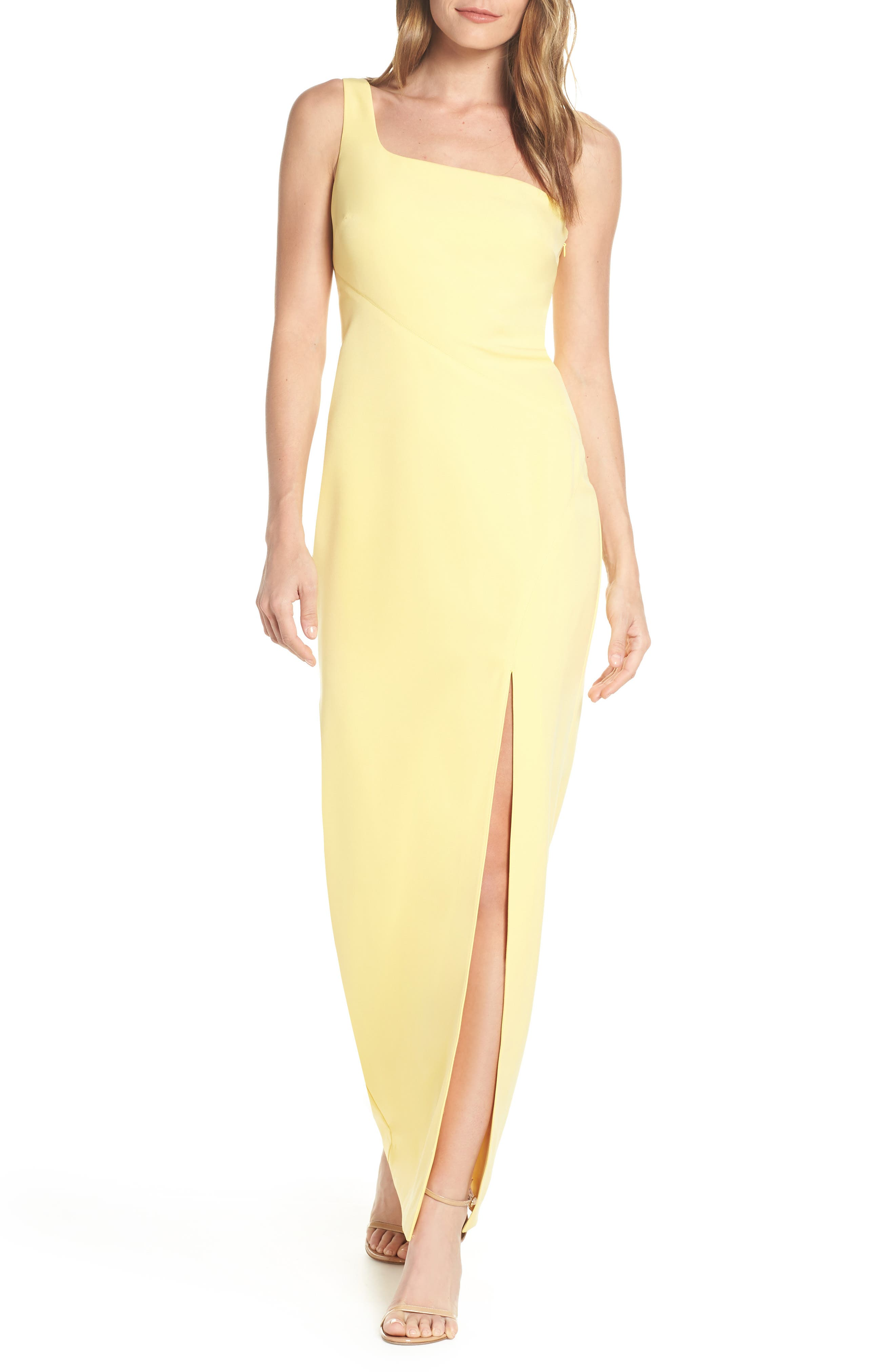 Vince Camuto One-Shoulder Column Dress, Yellow