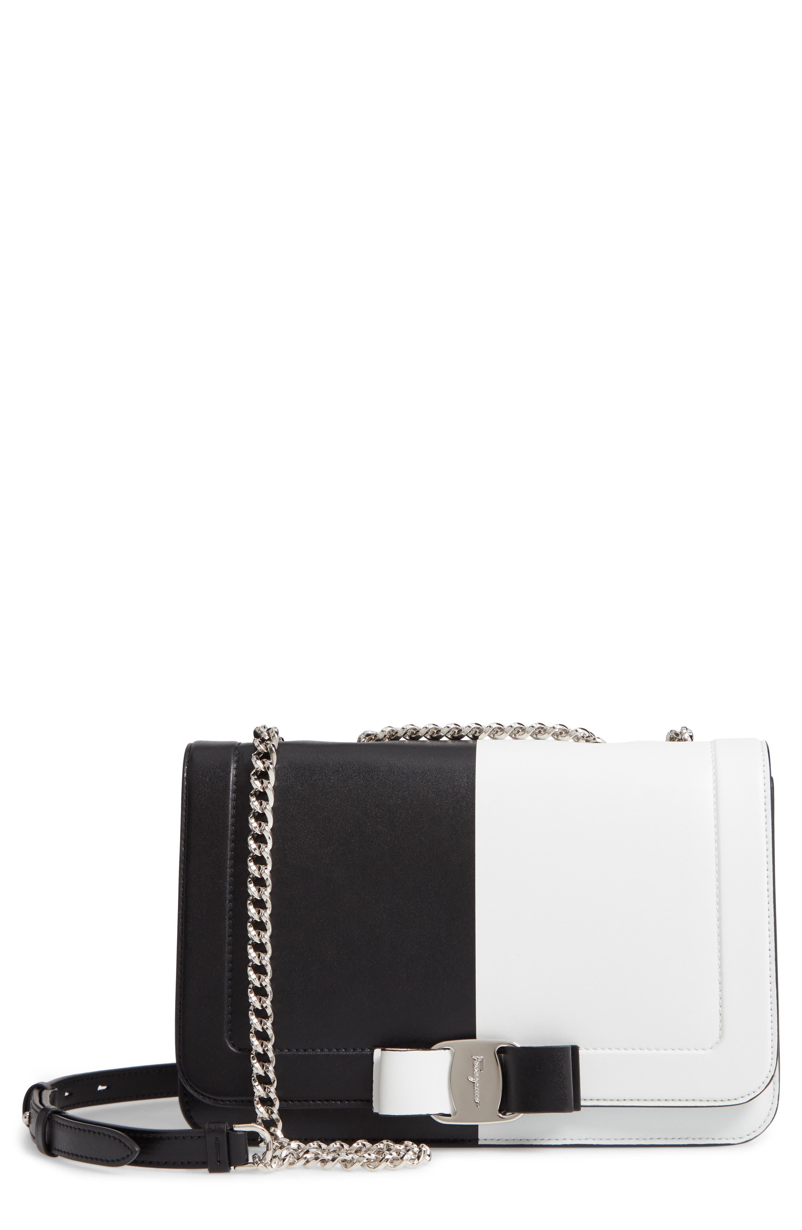 Vara Colorblock Leather Shoulder Bag,                         Main,                         color, BLACK/ WHITE