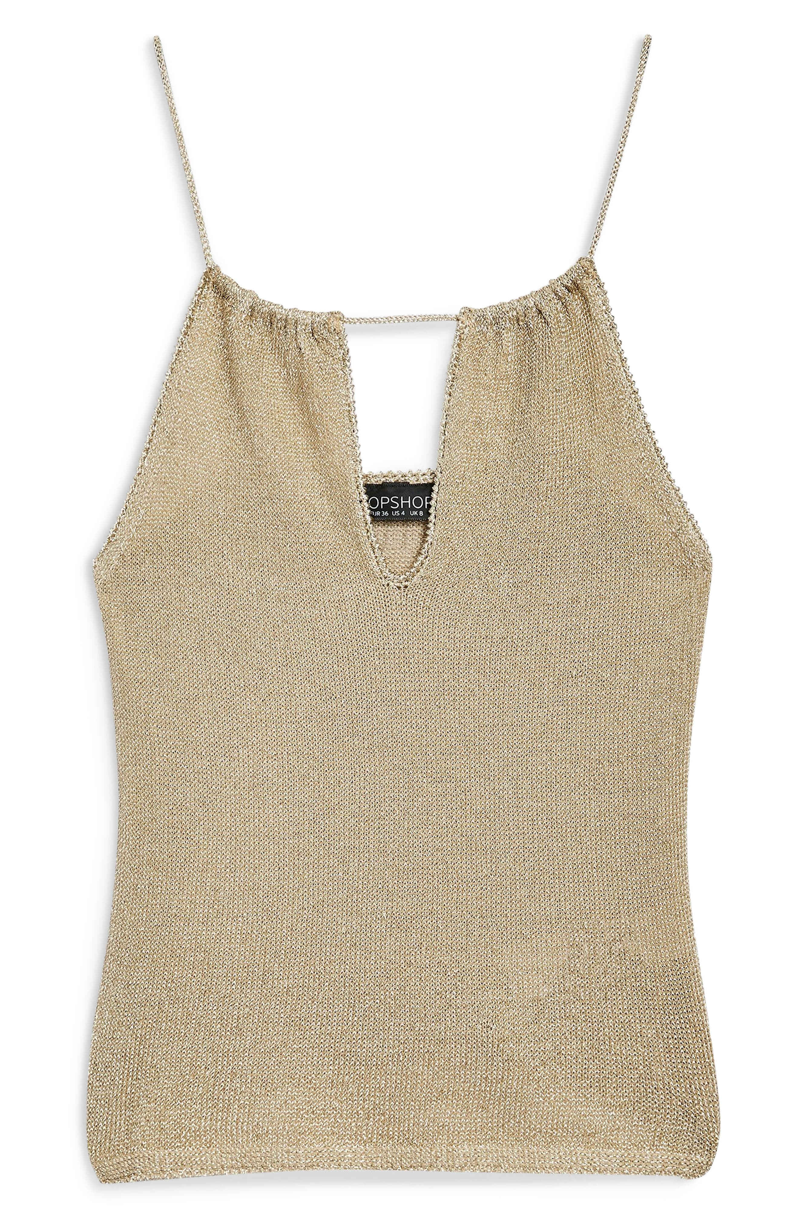 Halter Camisole,                             Alternate thumbnail 3, color,                             GOLD