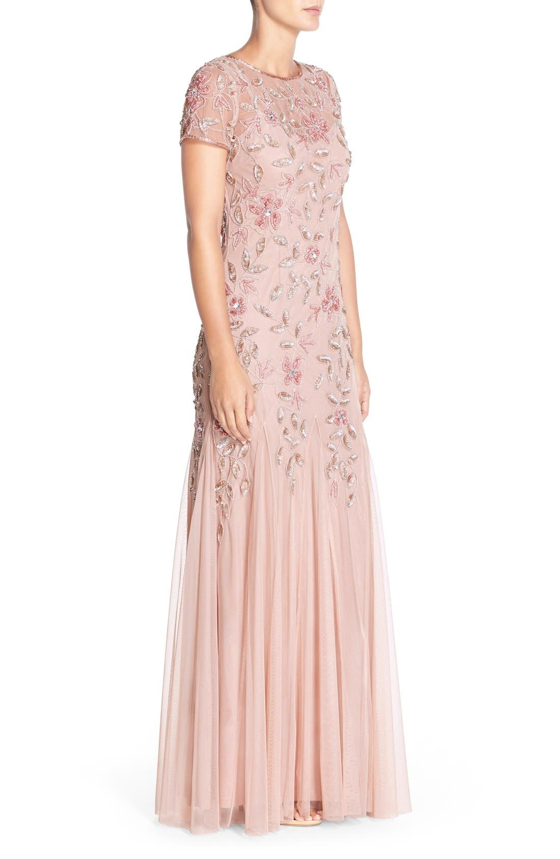 Floral Beaded Trumpet Gown,                             Alternate thumbnail 18, color,