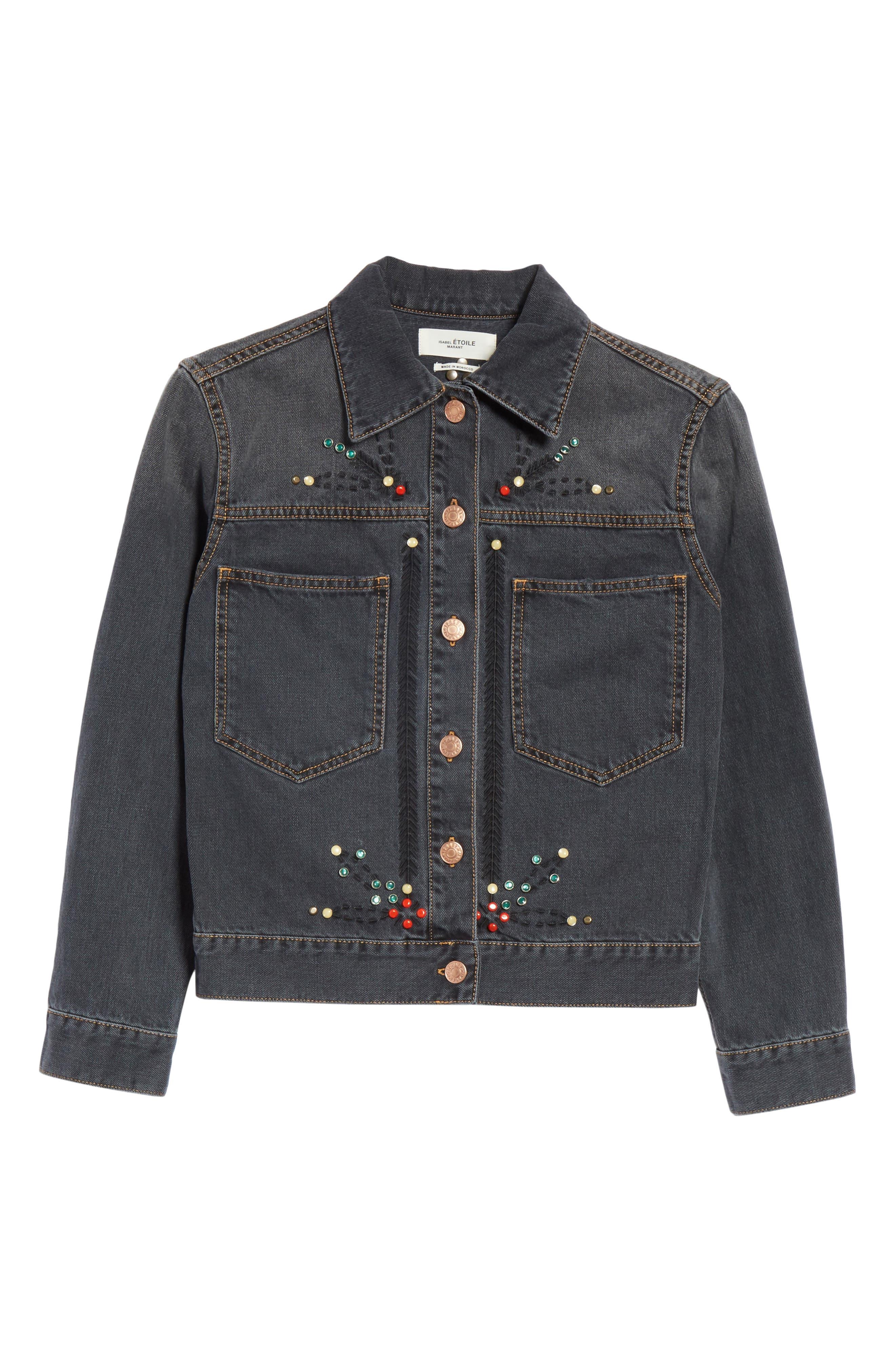 Isabel Marant Étoile Cabella Embellished Denim Jacket,                             Alternate thumbnail 5, color,