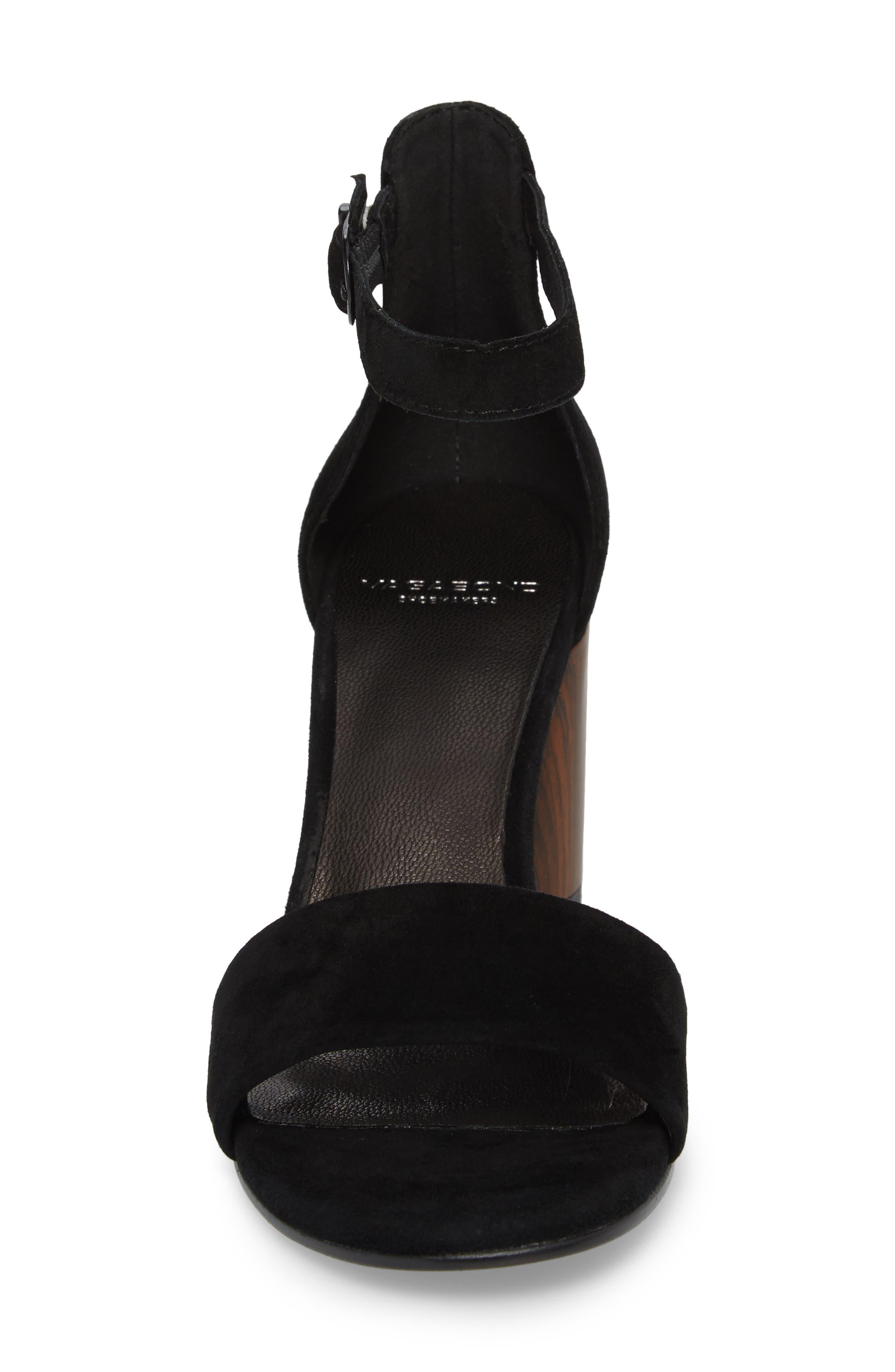 Carol Ankle Strap Sandal,                             Alternate thumbnail 4, color,                             BLACK SUEDE