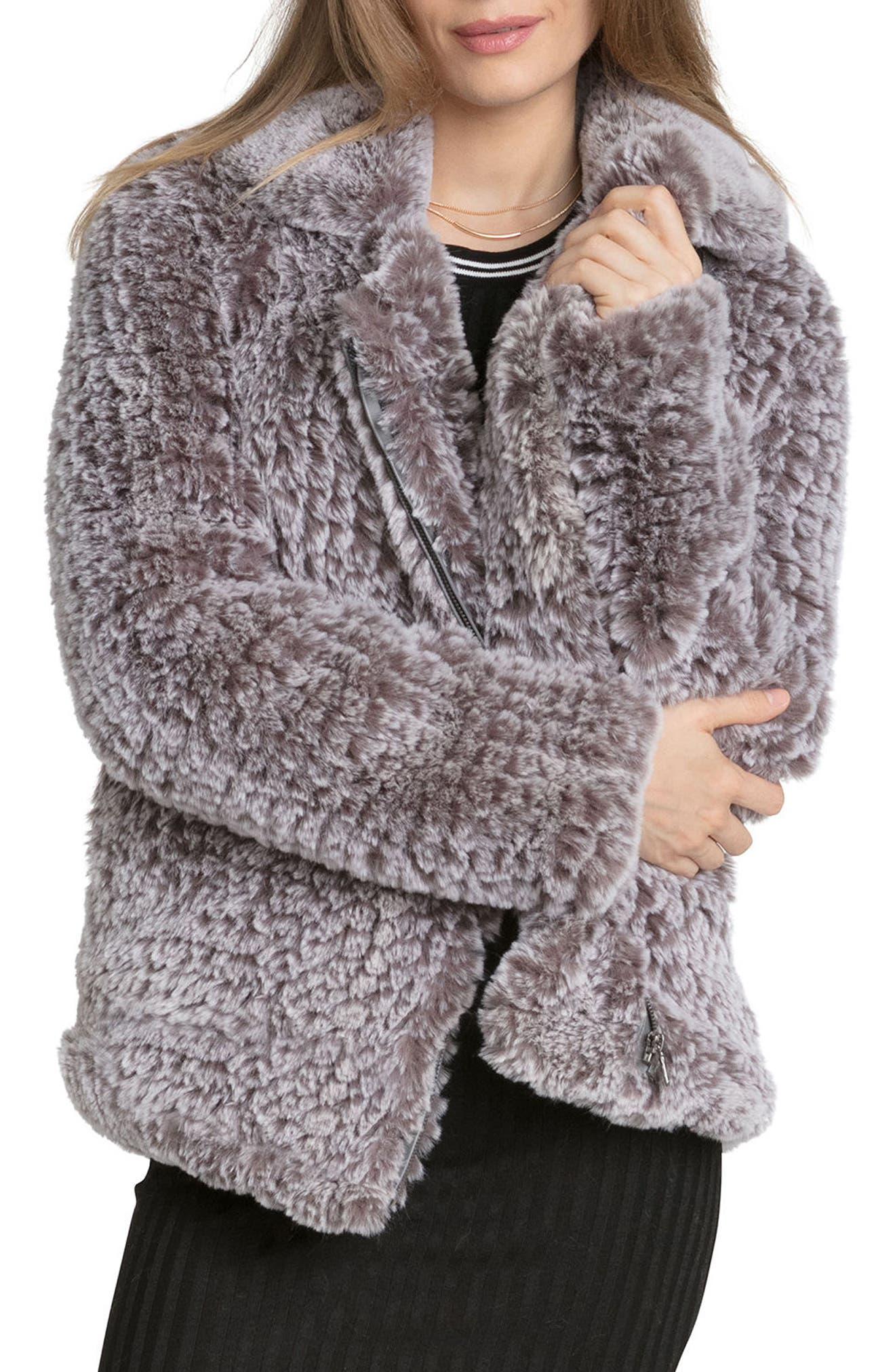 Faux Fur Jacket,                             Alternate thumbnail 4, color,                             022