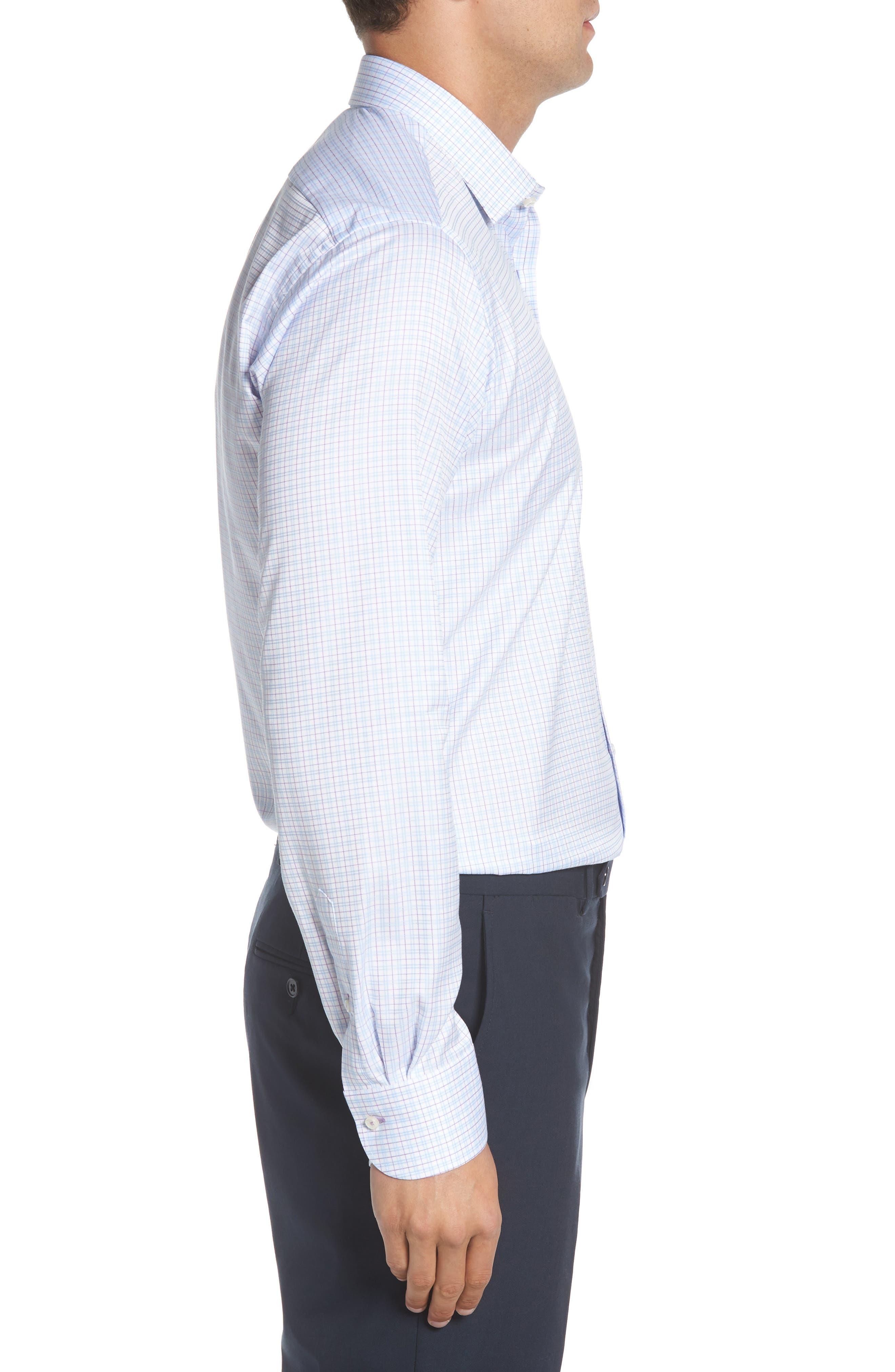 Regular Fit Check Dress Shirt,                             Alternate thumbnail 4, color,                             WHITE MULTI