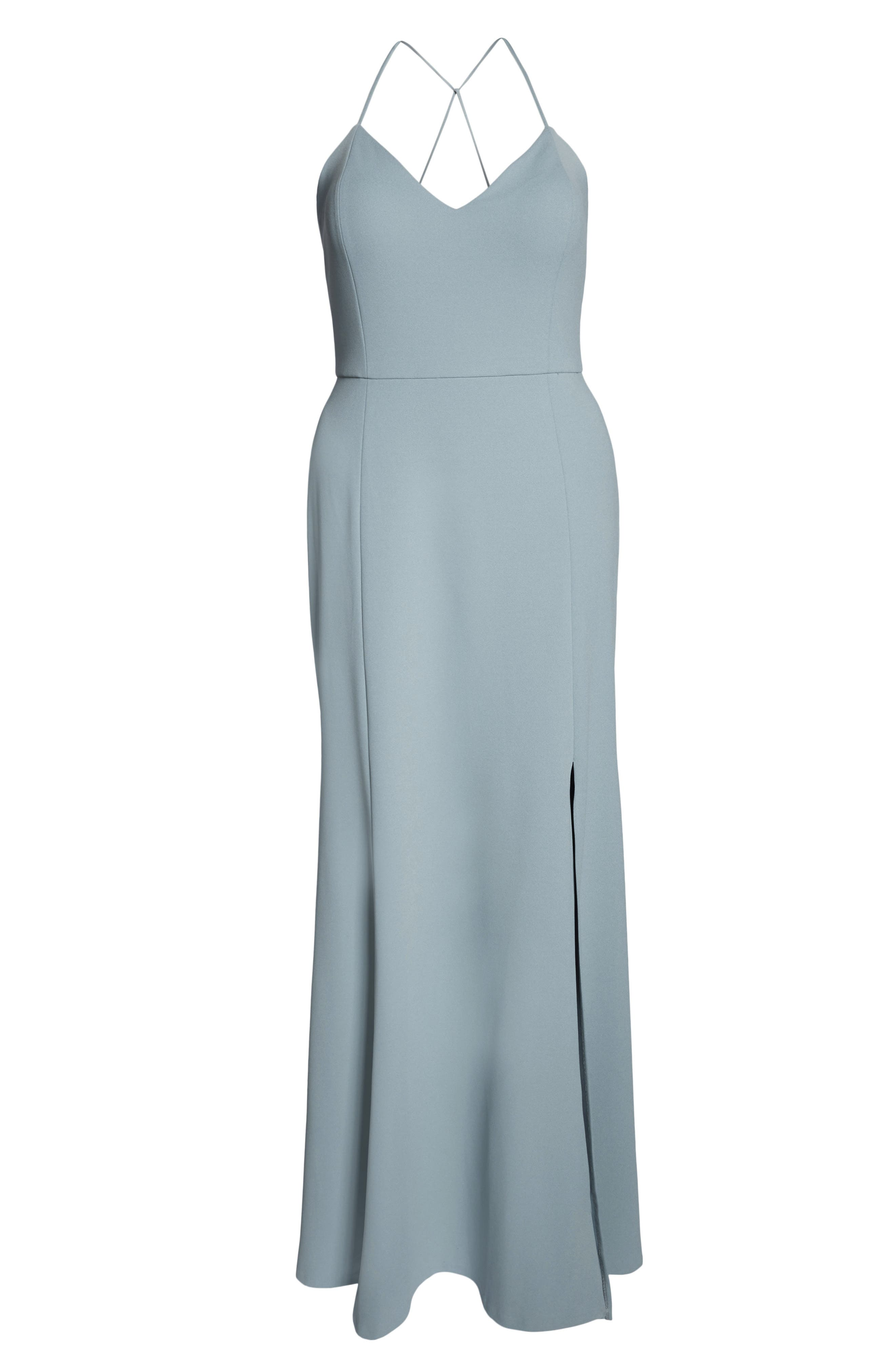 Reese Crepe Knit Gown,                             Alternate thumbnail 14, color,                             MAYAN BLUE