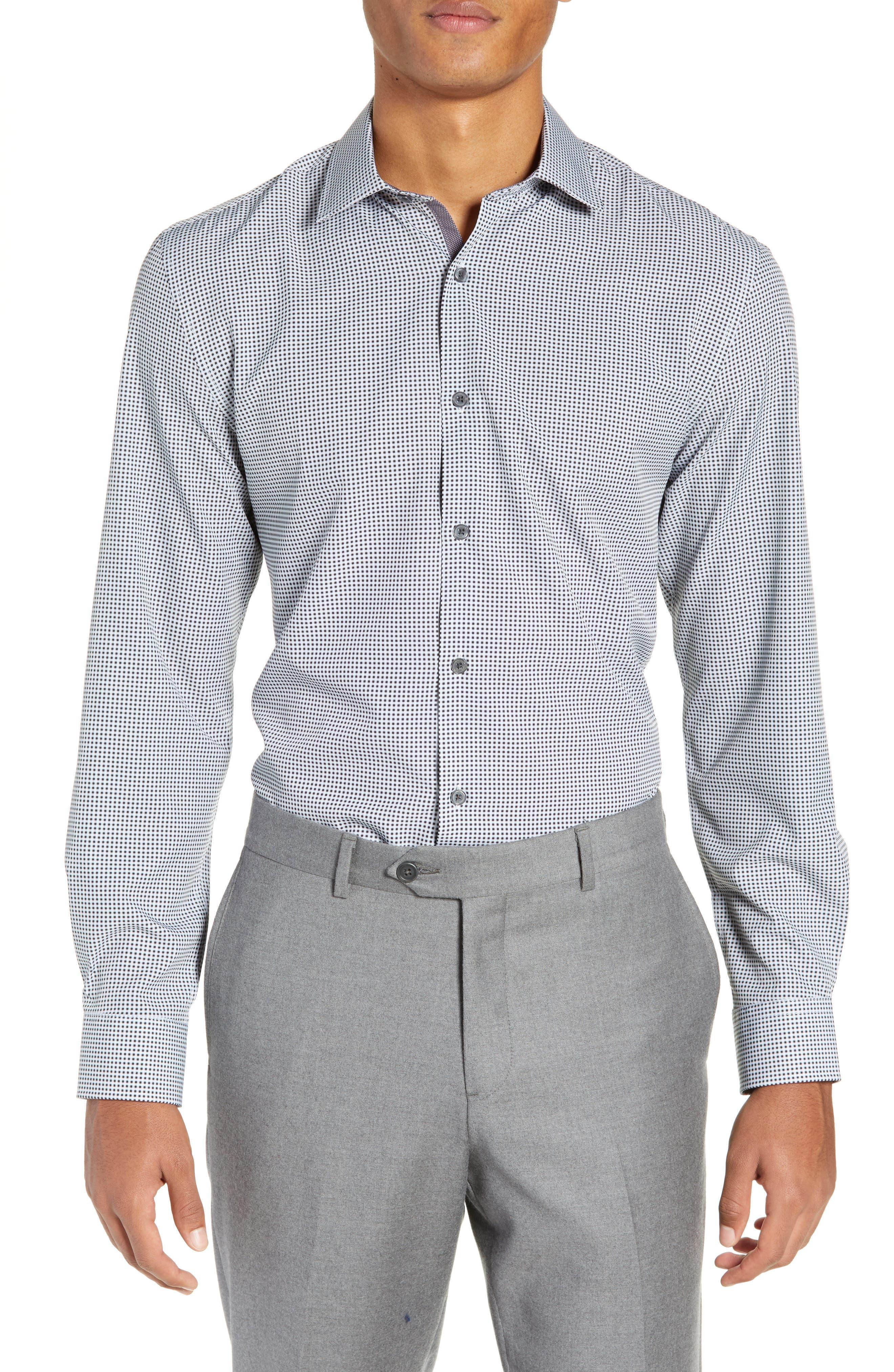Trim Fit 4-Way Stretch Check Dress Shirt,                         Main,                         color, BLACK