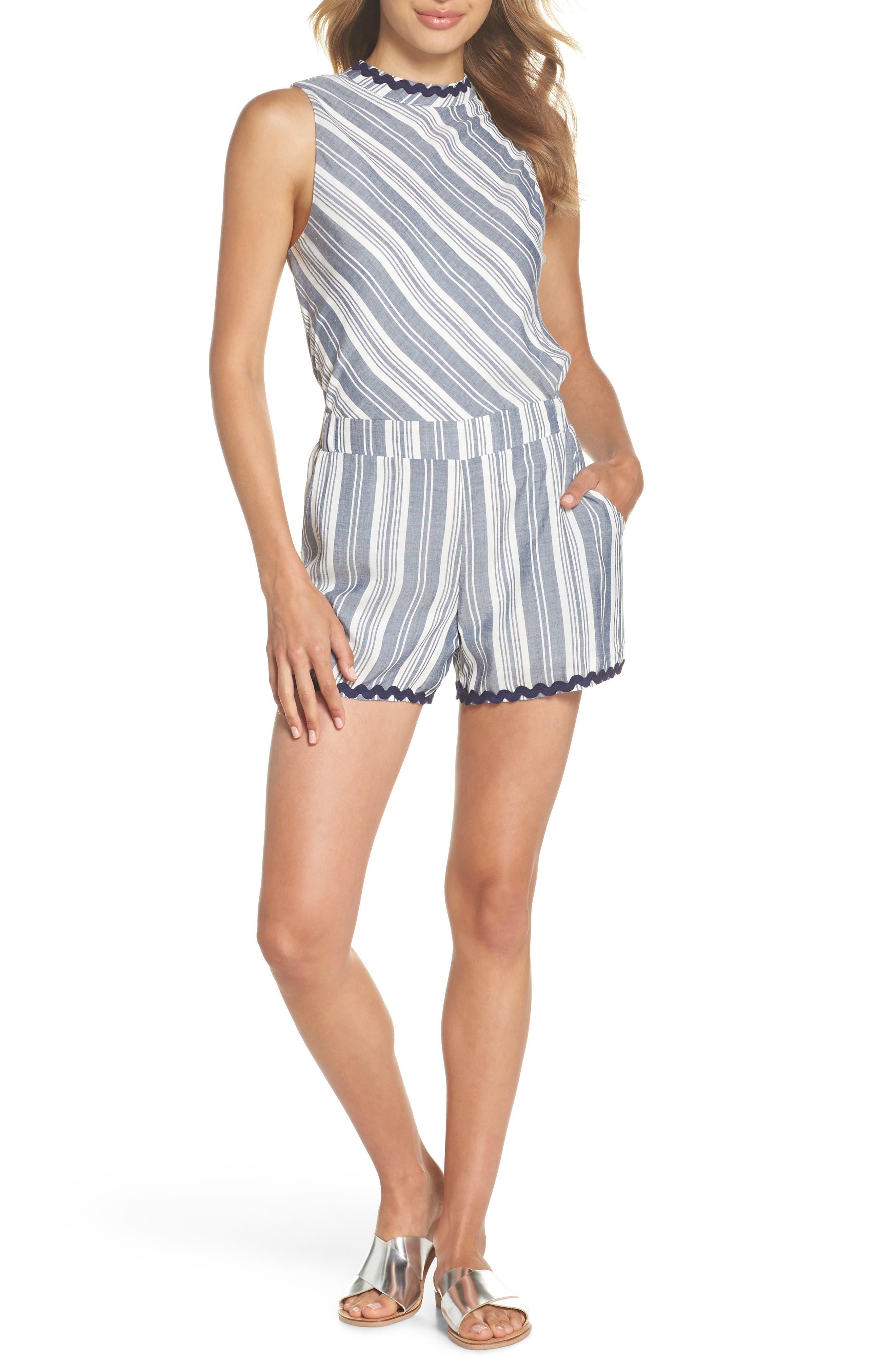 Sleeveless Stripe Romper,                         Main,                         color, NAVY