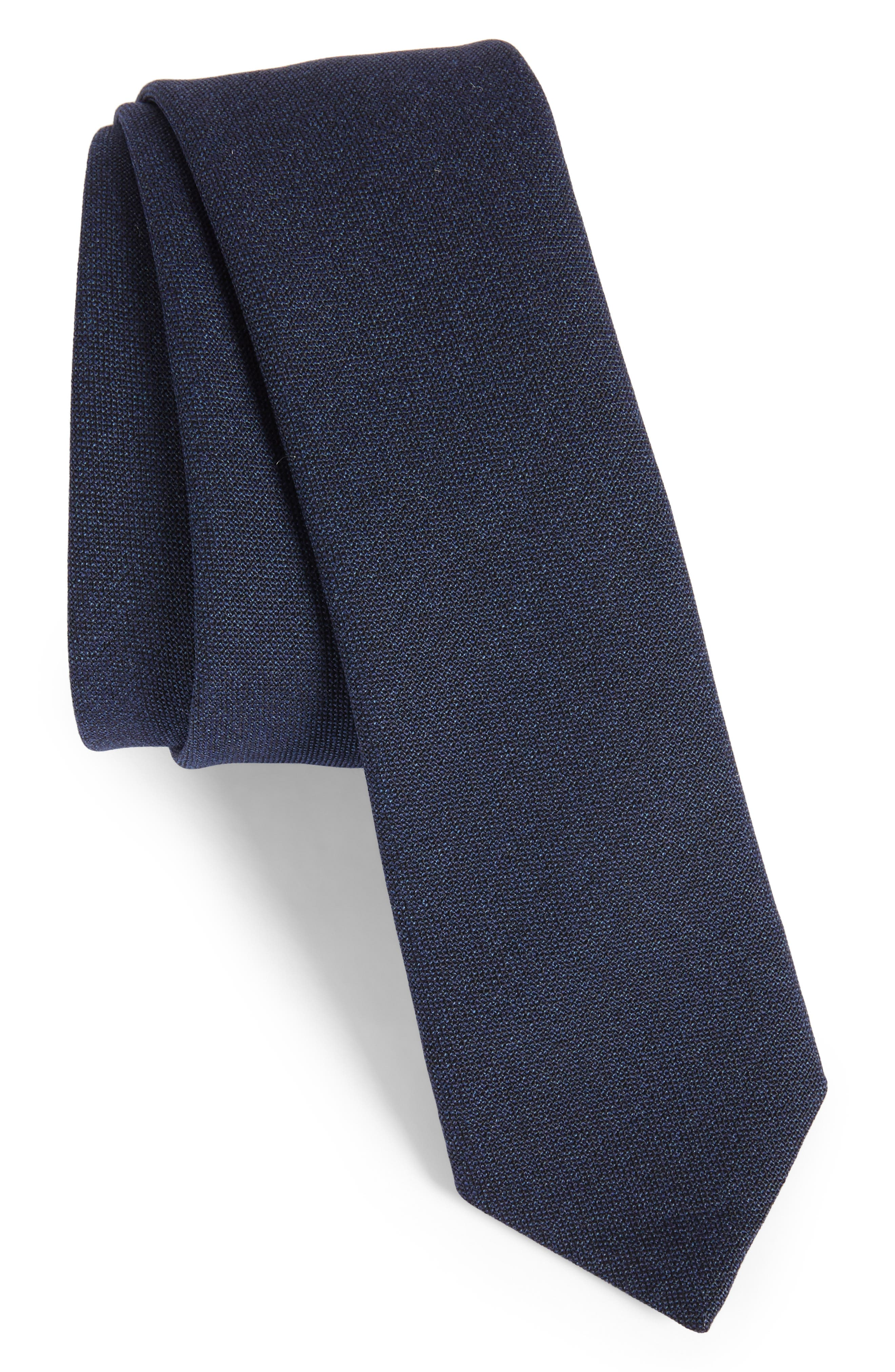 Jaspé Wool Skinny Tie,                             Main thumbnail 3, color,