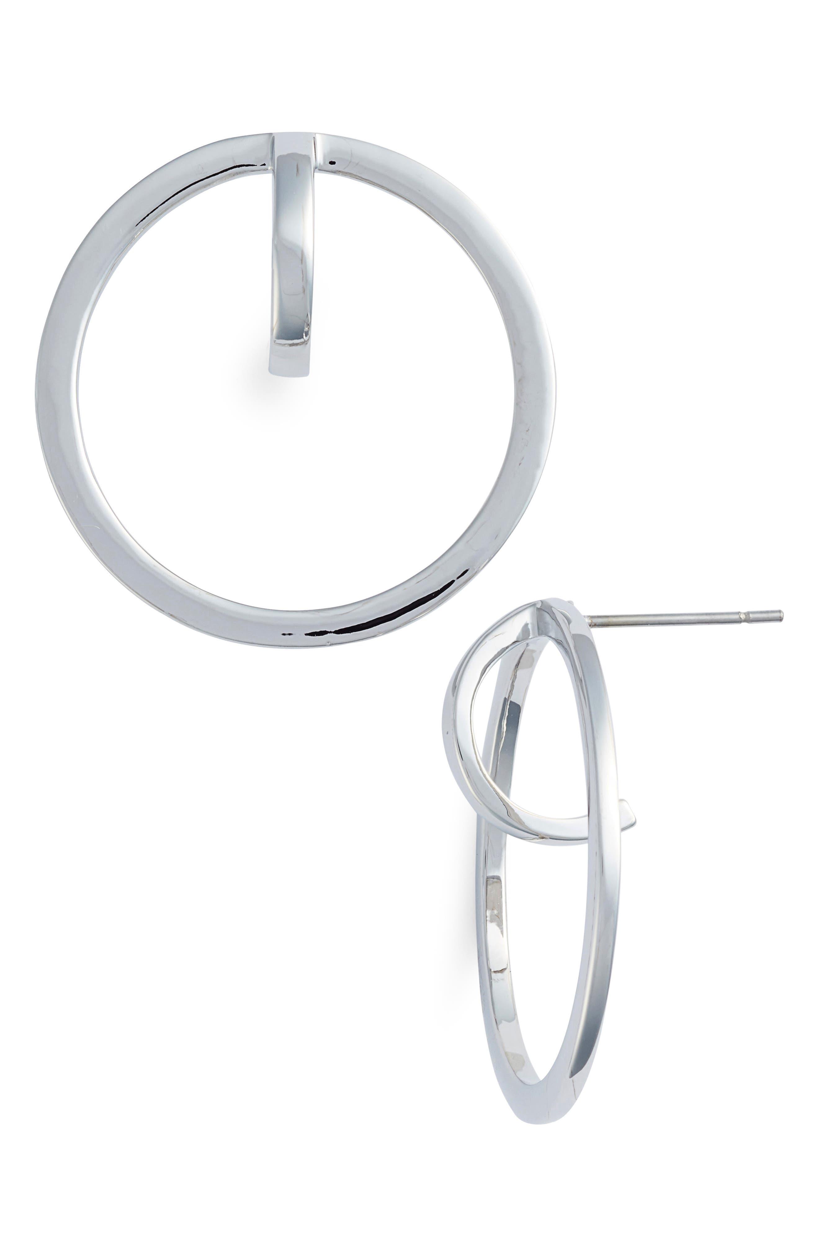 Polished Orbital Earrings,                         Main,                         color, SILVER