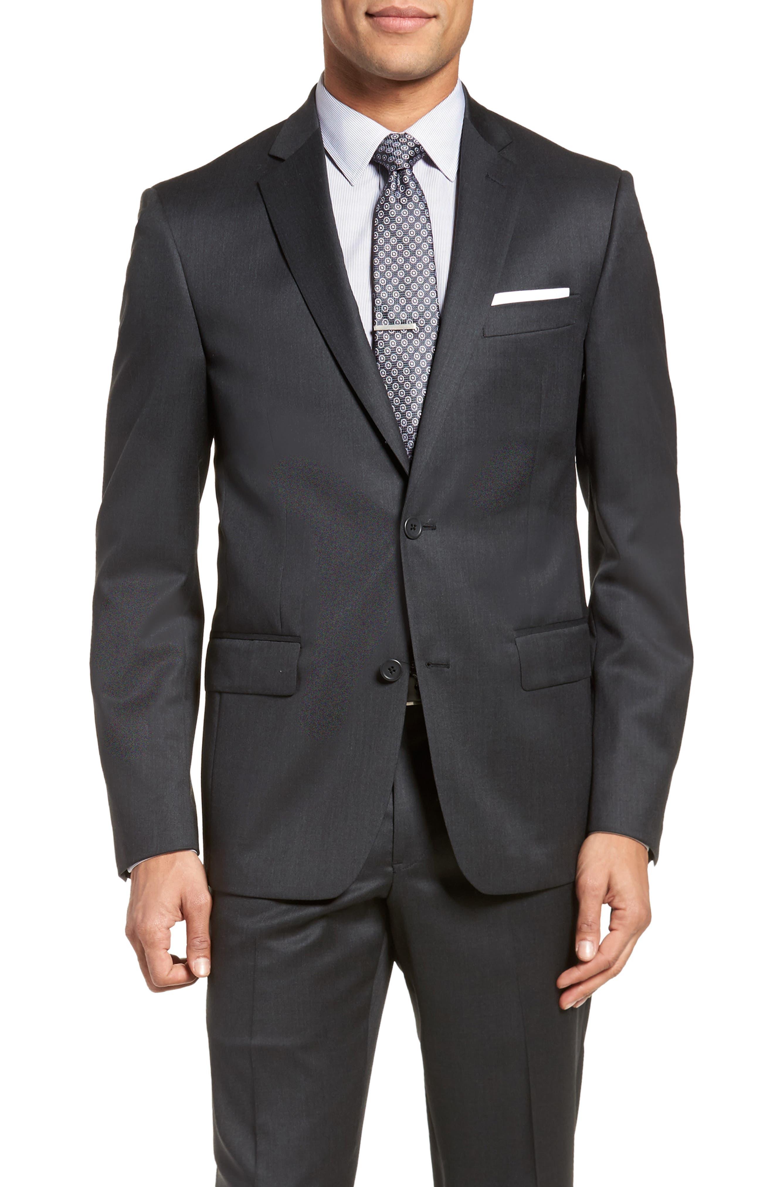 Trim Fit Solid Wool Suit,                             Alternate thumbnail 5, color,                             021