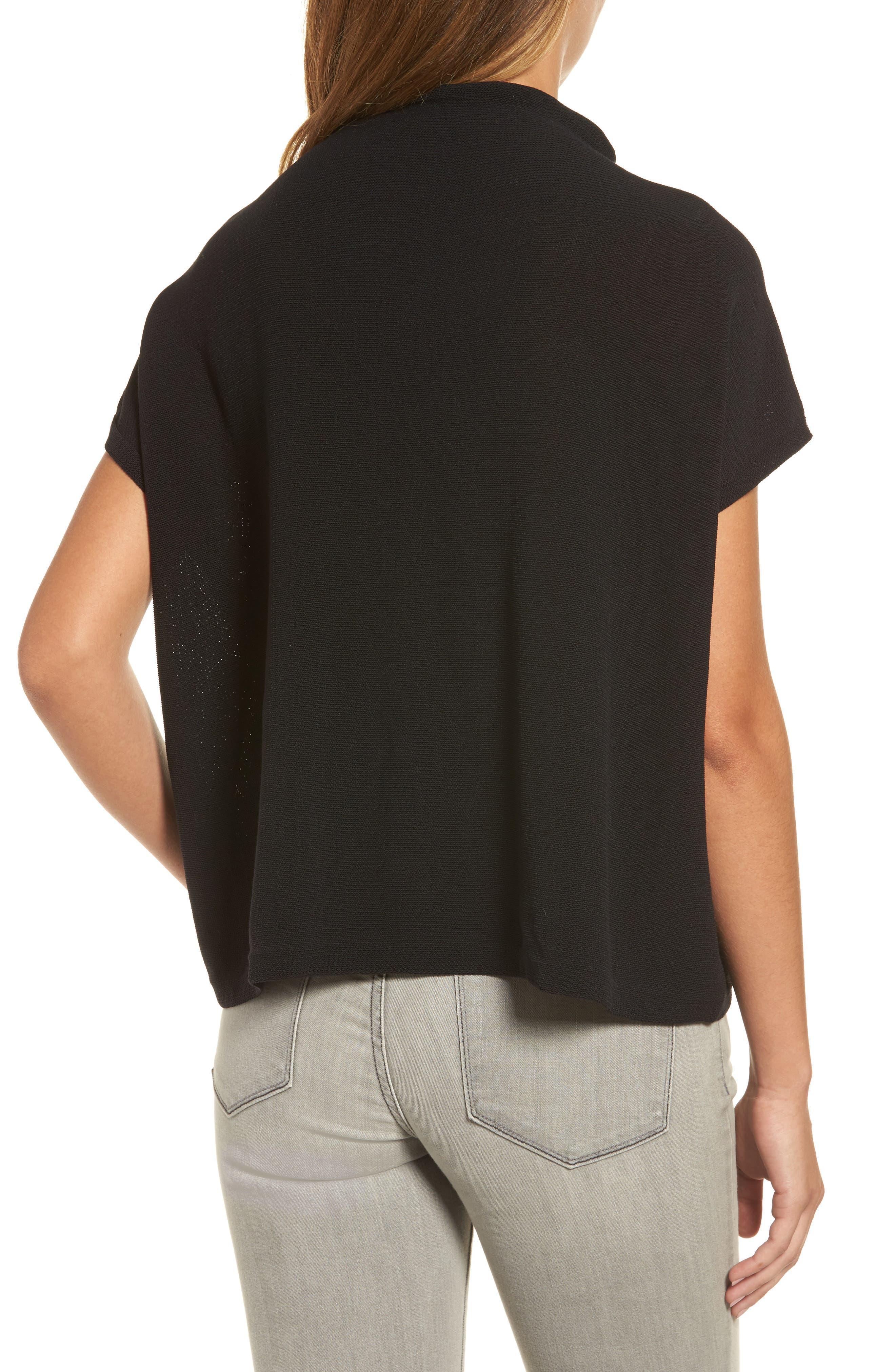 Organic Cotton Blend Funnel Neck Sweater,                             Alternate thumbnail 2, color,                             001