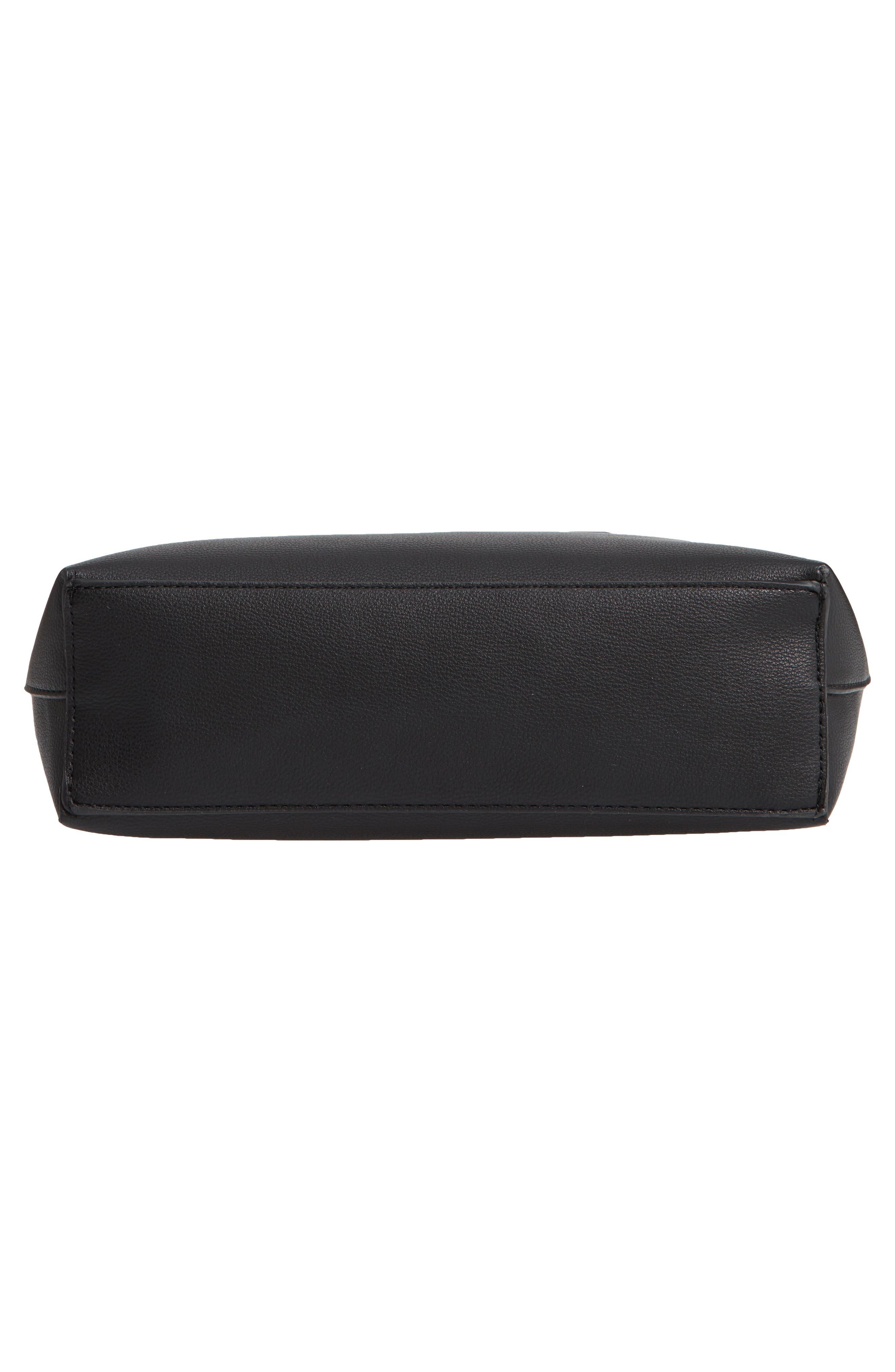 Payton Convertible Faux Leather Tote,                             Alternate thumbnail 6, color,                             BLACK