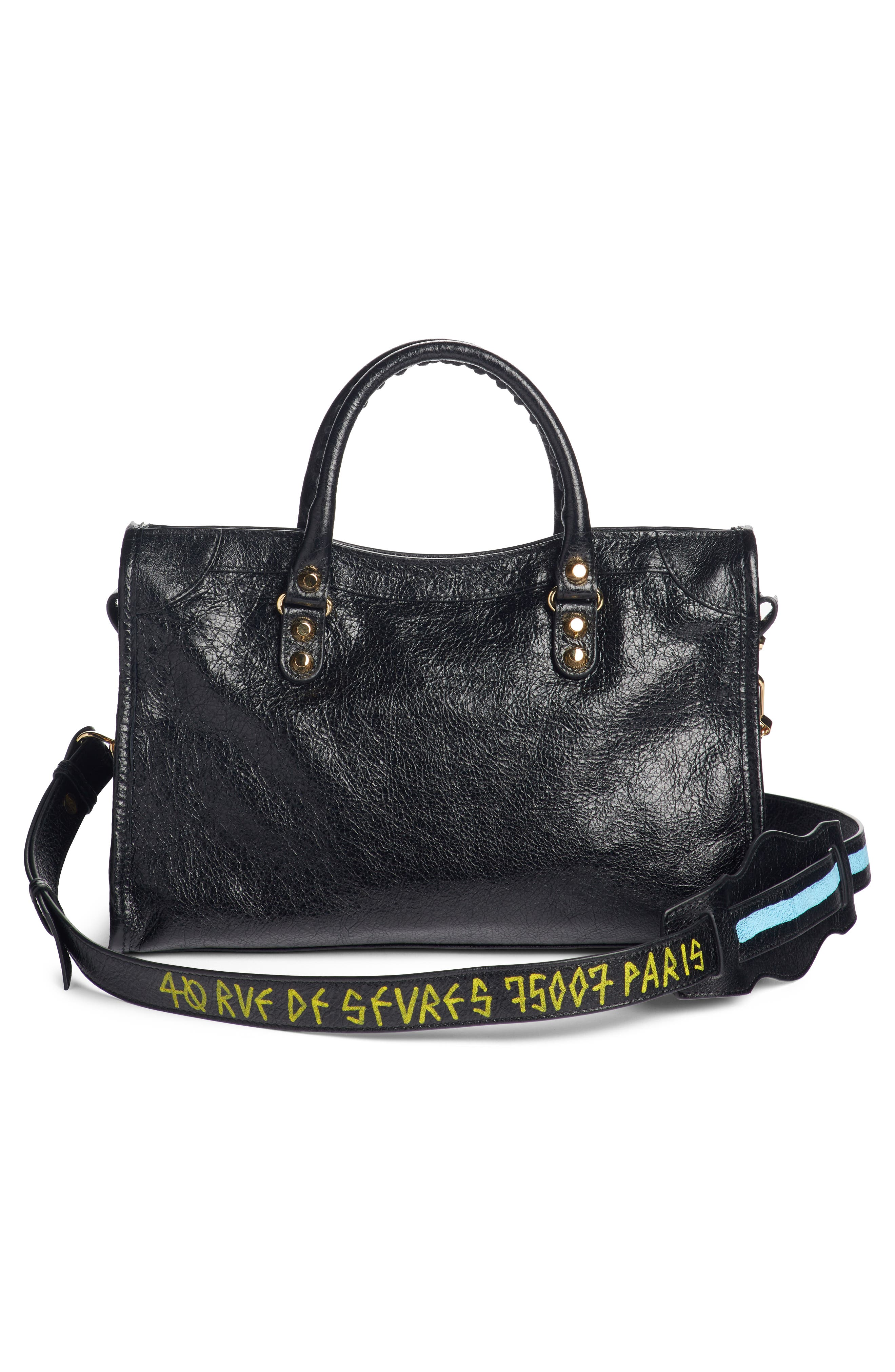 Arena Classic City Leather Tote with Graffiti Strap,                             Alternate thumbnail 3, color,                             NOIR