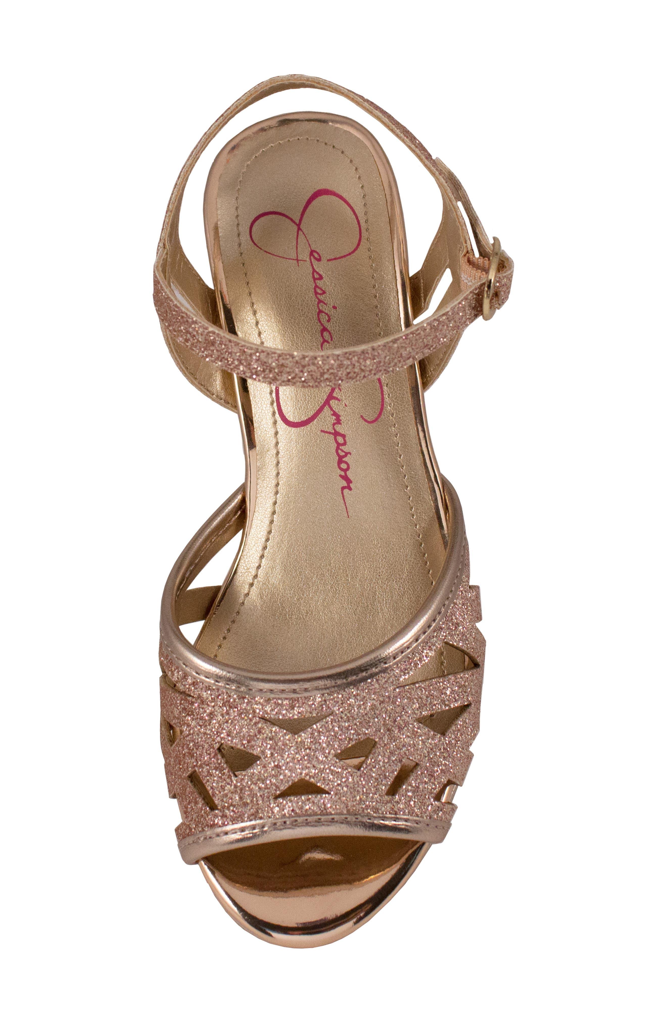 JESSICA SIMPSON,                             Glitter Sandal,                             Alternate thumbnail 5, color,                             ROSE GOLD